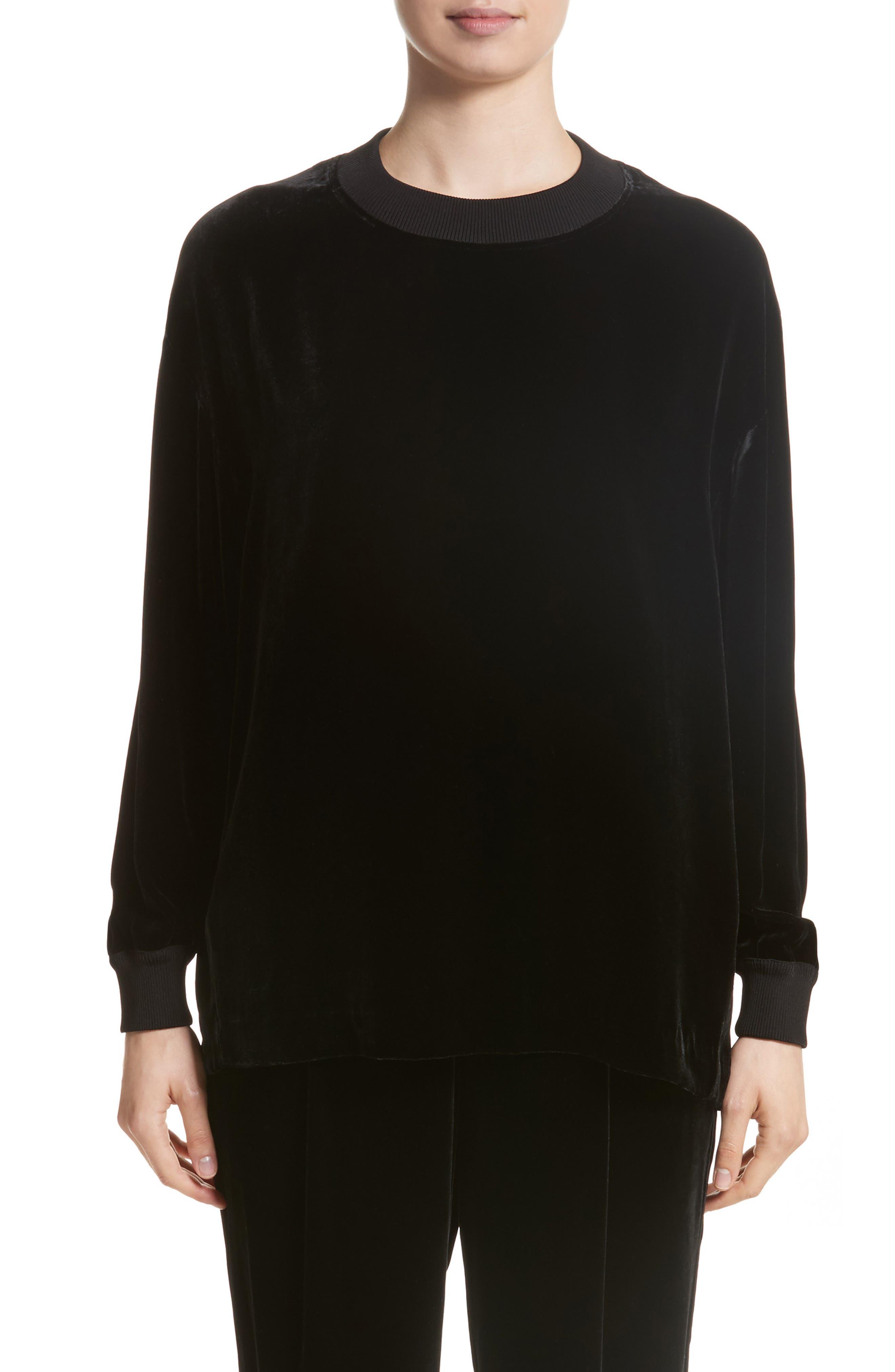 Jansen Velvet Blouse,                         Main,                         color, Black