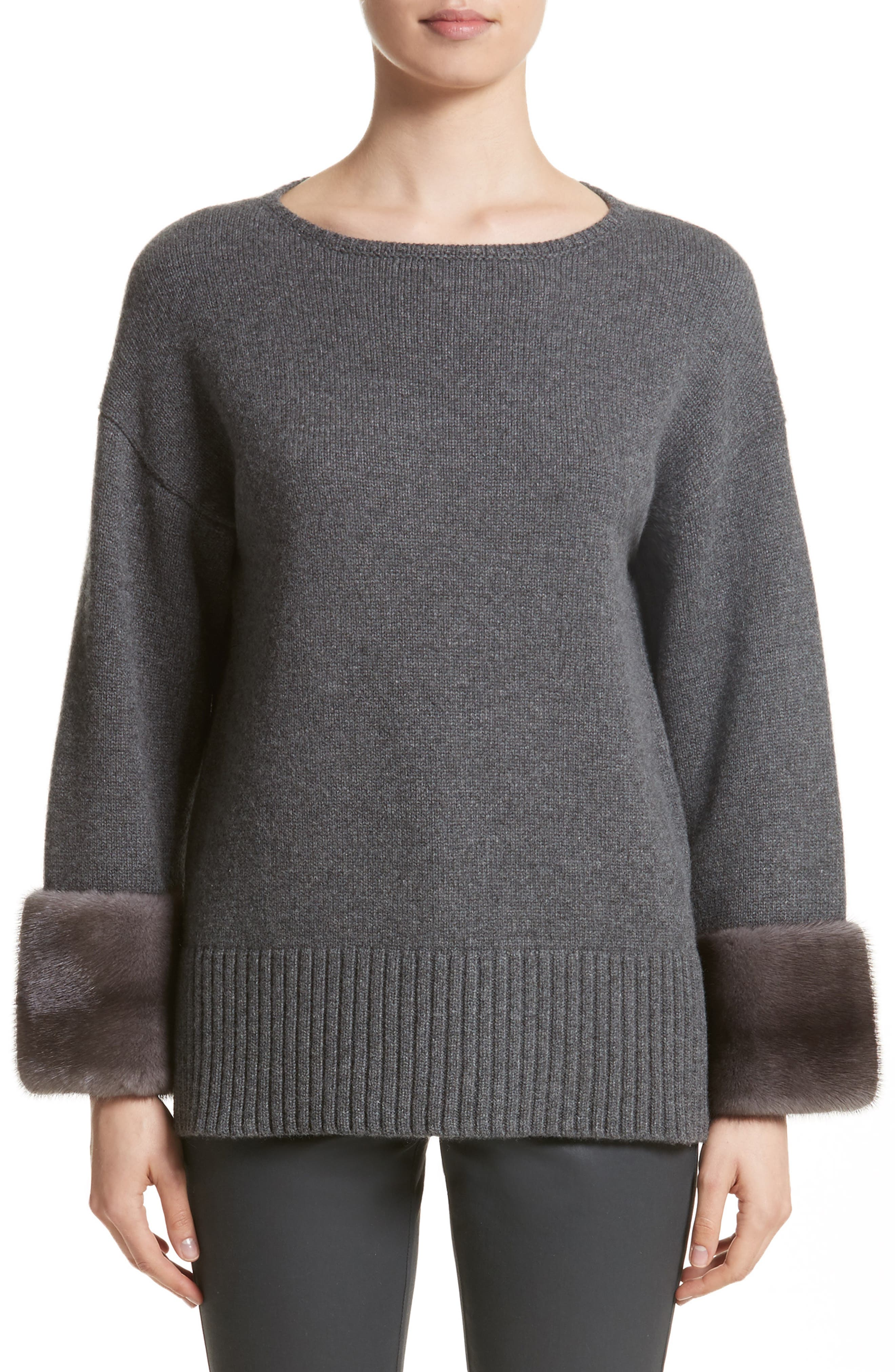 Cashmere Sweater with Genuine Mink Fur Cuffs,                         Main,                         color, Graphite Melange