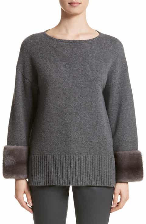 Lafayette 148 New York Cashmere Sweater with Genuine Mink Fur Cuffs