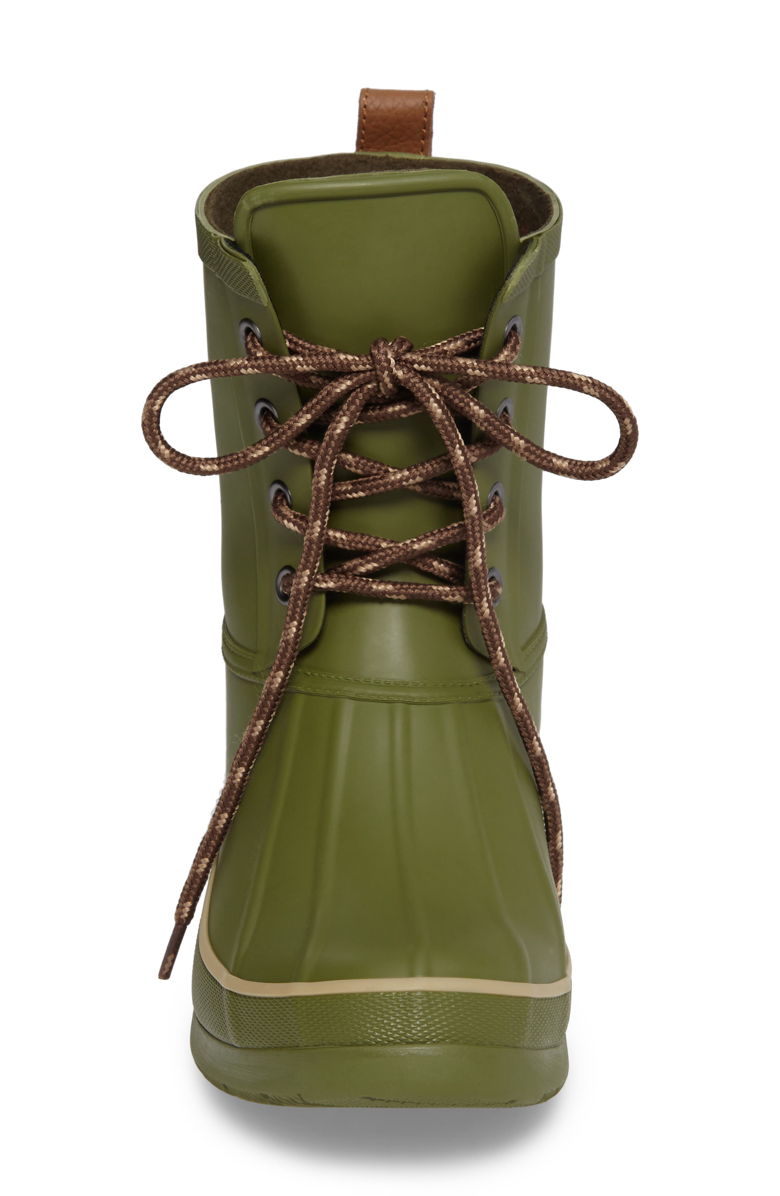 Classic Lace-Up Duck Boot,                             Alternate thumbnail 4, color,                             Olive