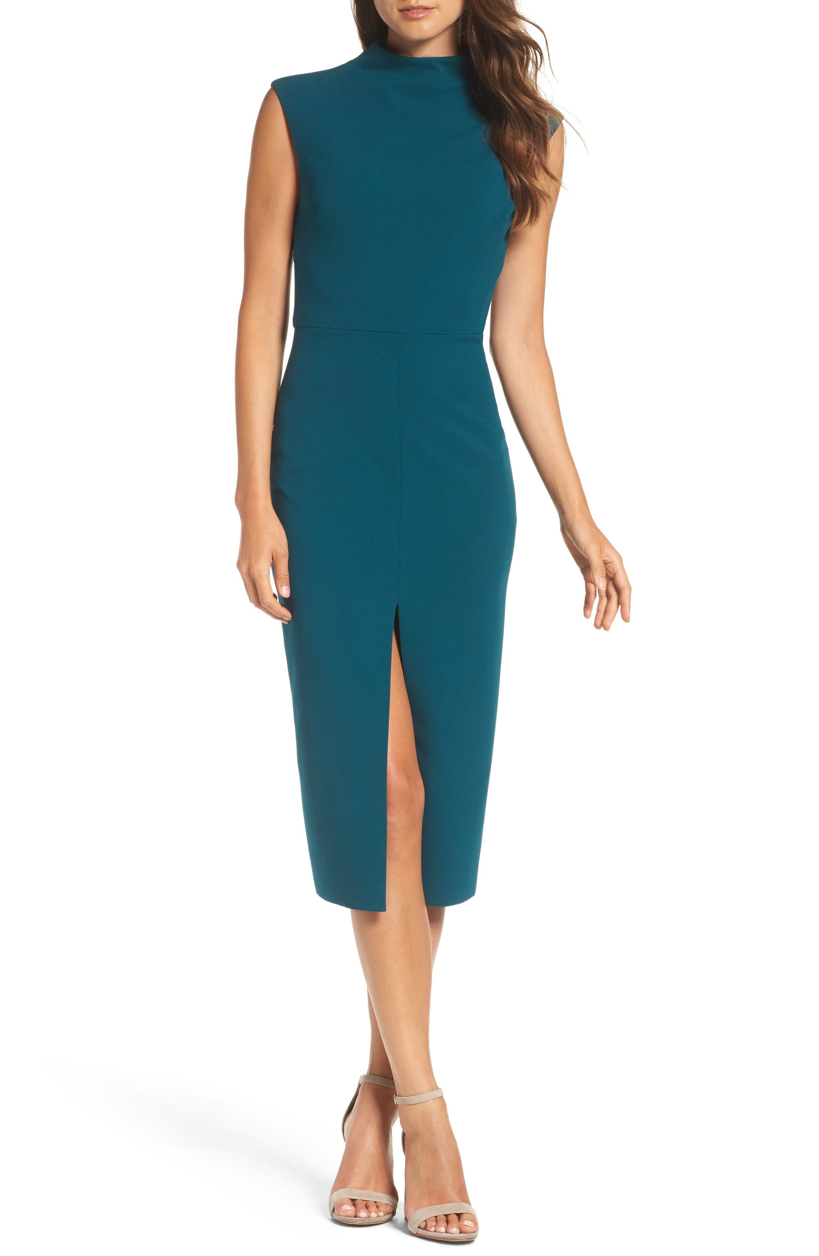 Crepe Midi Dress,                             Main thumbnail 1, color,                             Pine