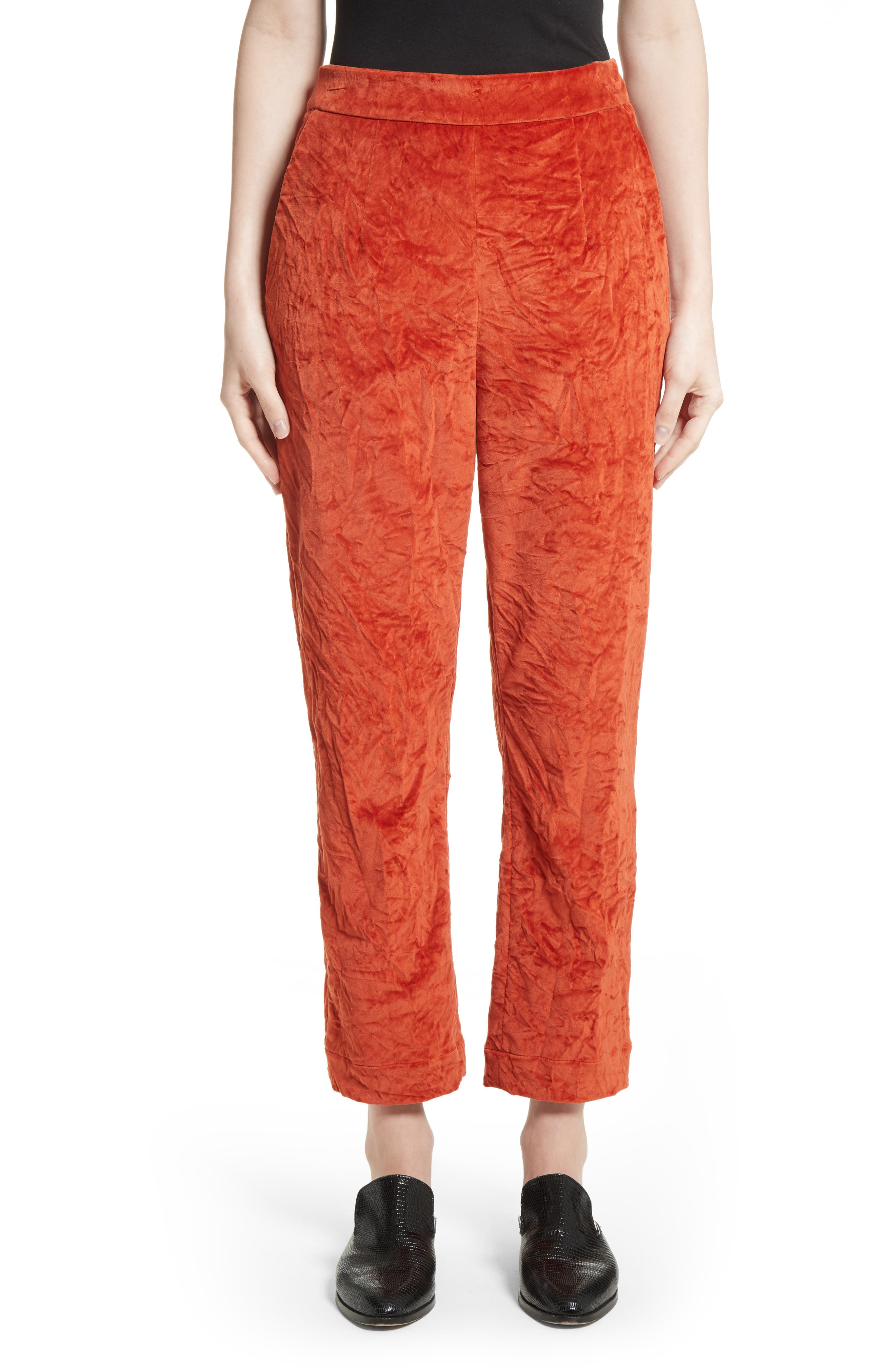 Crushed Velvet Pants,                         Main,                         color, Cayenne