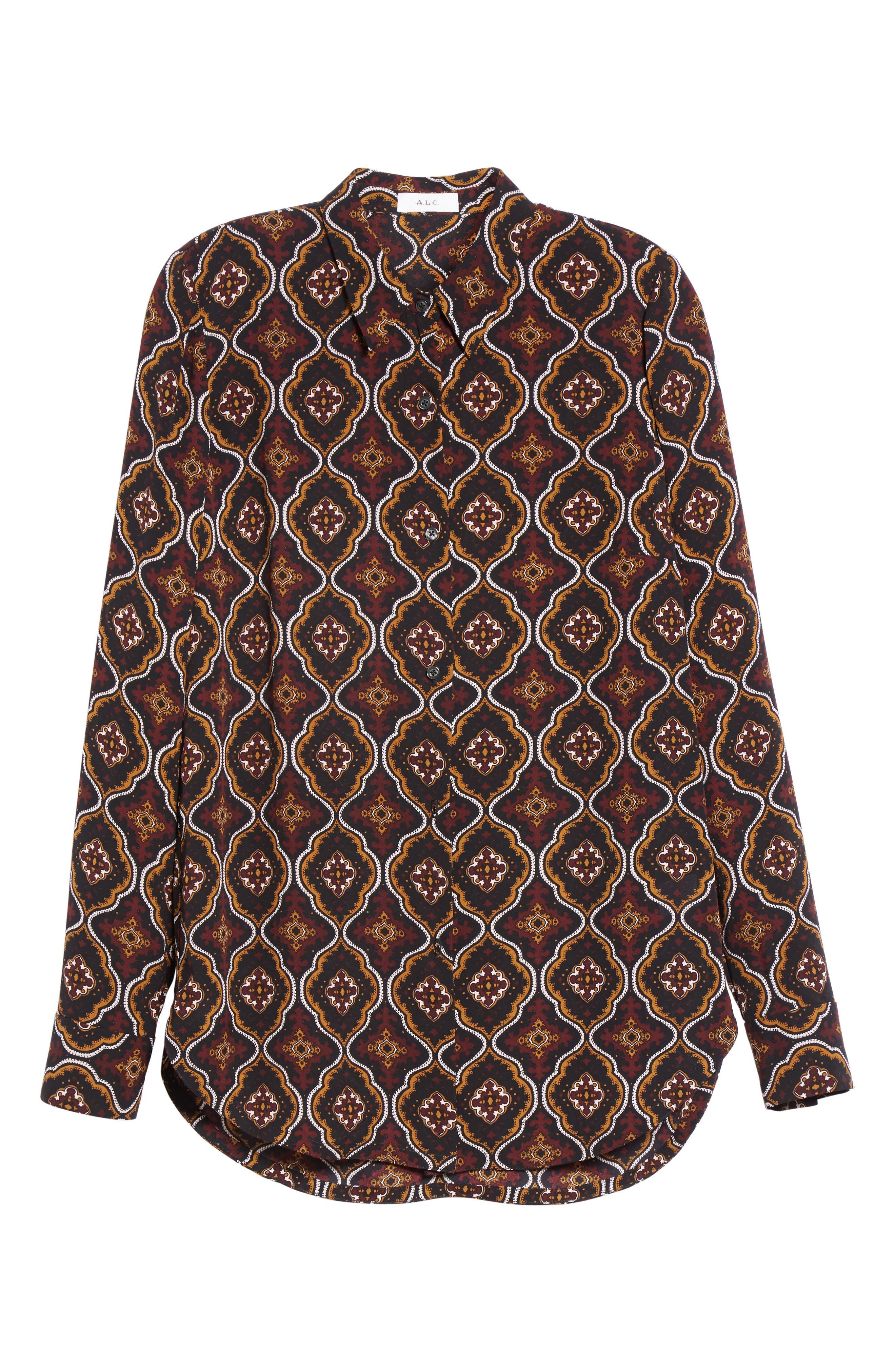 Aubrey Print Silk Top,                             Alternate thumbnail 8, color,                             Burgundy/ Gold Multi