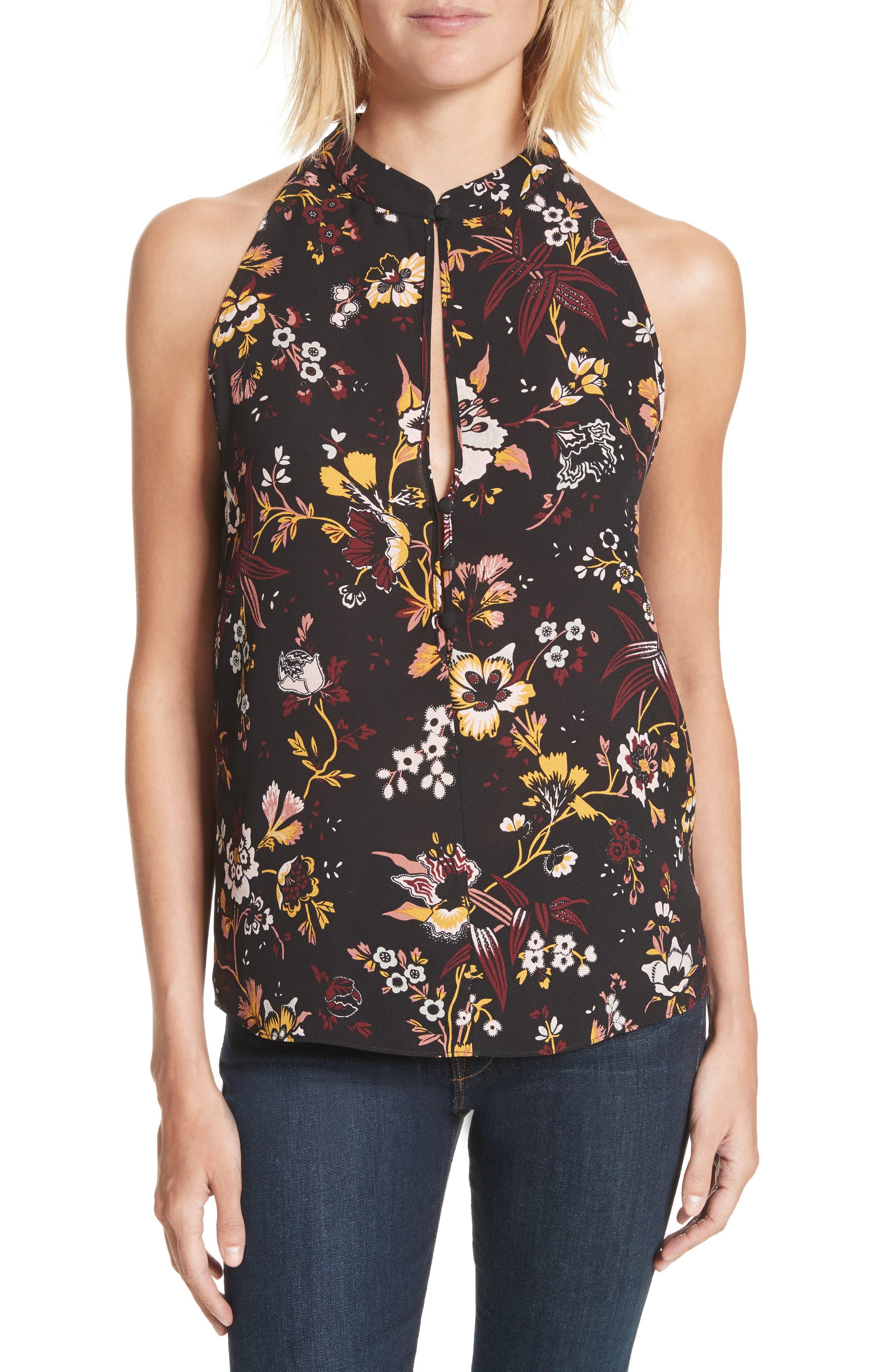 Keith Floral Print Silk Top,                         Main,                         color, Black/ Grey/ Mustard