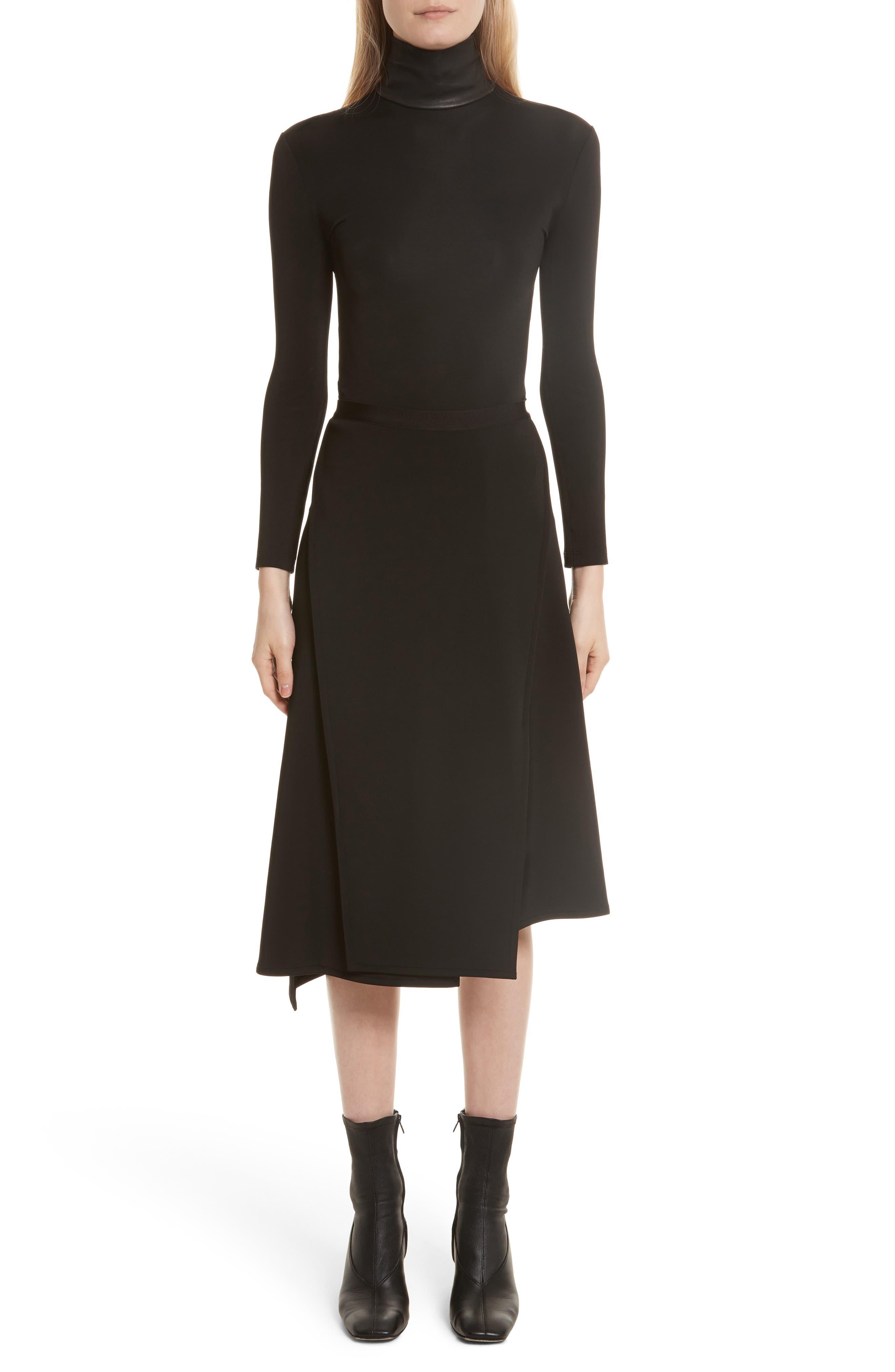 Bondage Jersey Asymmetrical Skirt,                             Alternate thumbnail 2, color,                             Black