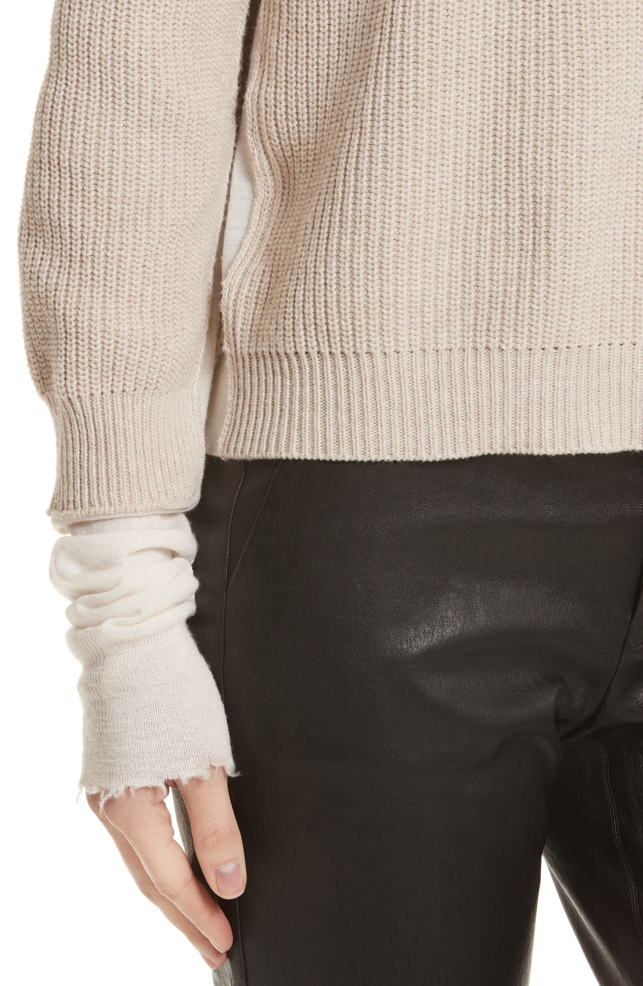 Layered Rib Pullover,                             Alternate thumbnail 4, color,                             Linen
