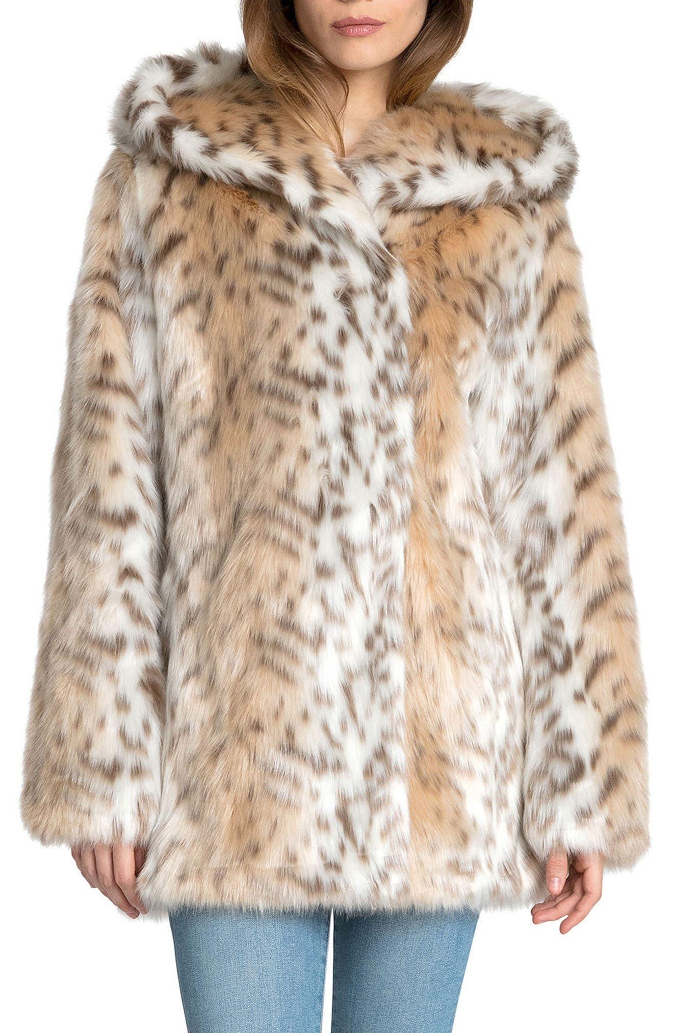 Hooded Faux Fur Jacket,                         Main,                         color, Snow Leopard