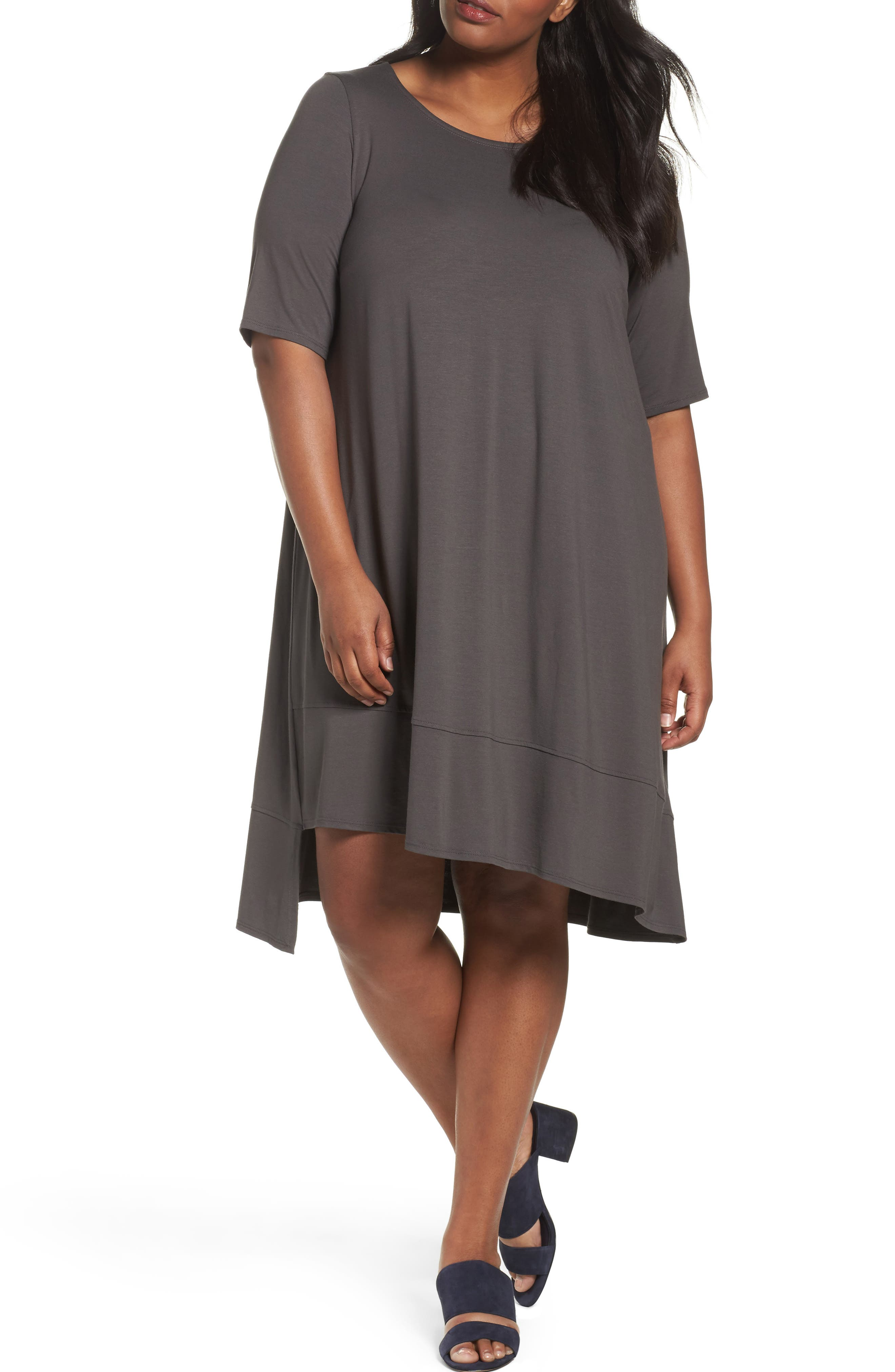 Alternate Image 1 Selected - Eileen Fisher Jersey Shift Dress (Plus Size)