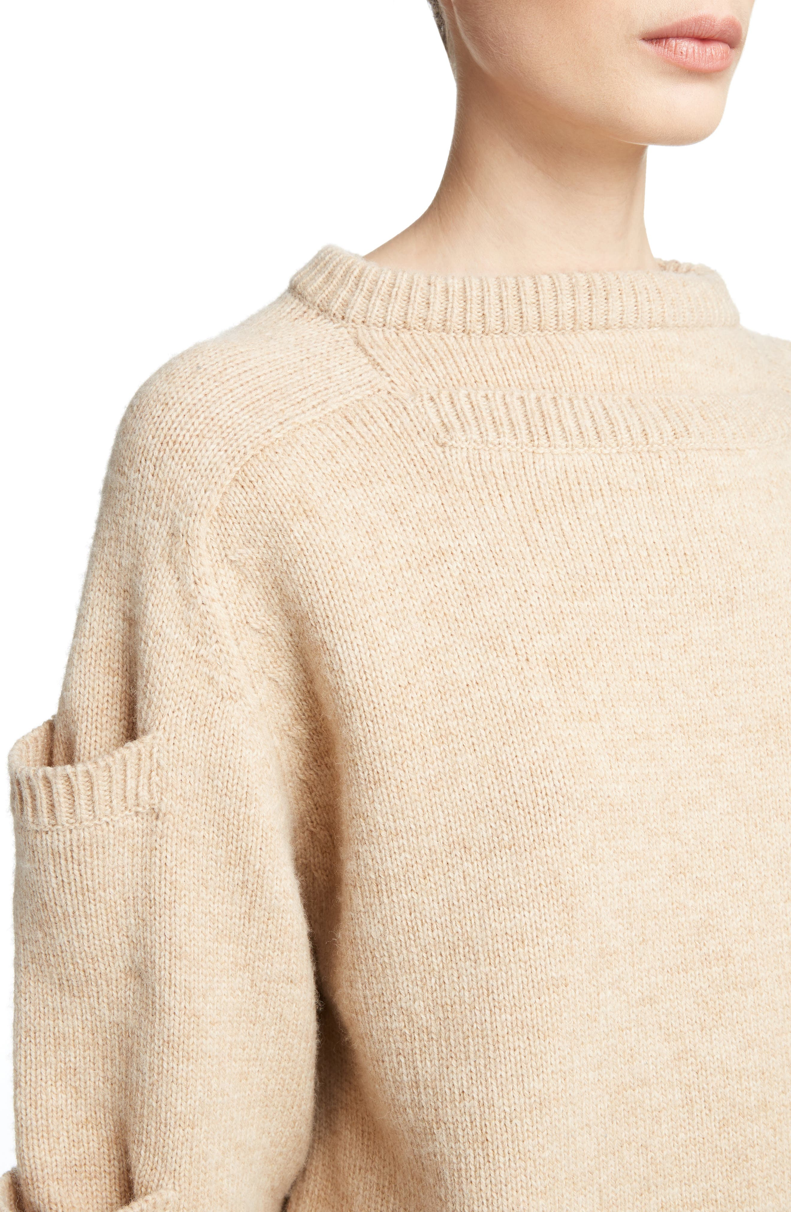 Sleeve Pocket Wool Sweater,                             Alternate thumbnail 4, color,                             Oatmeal