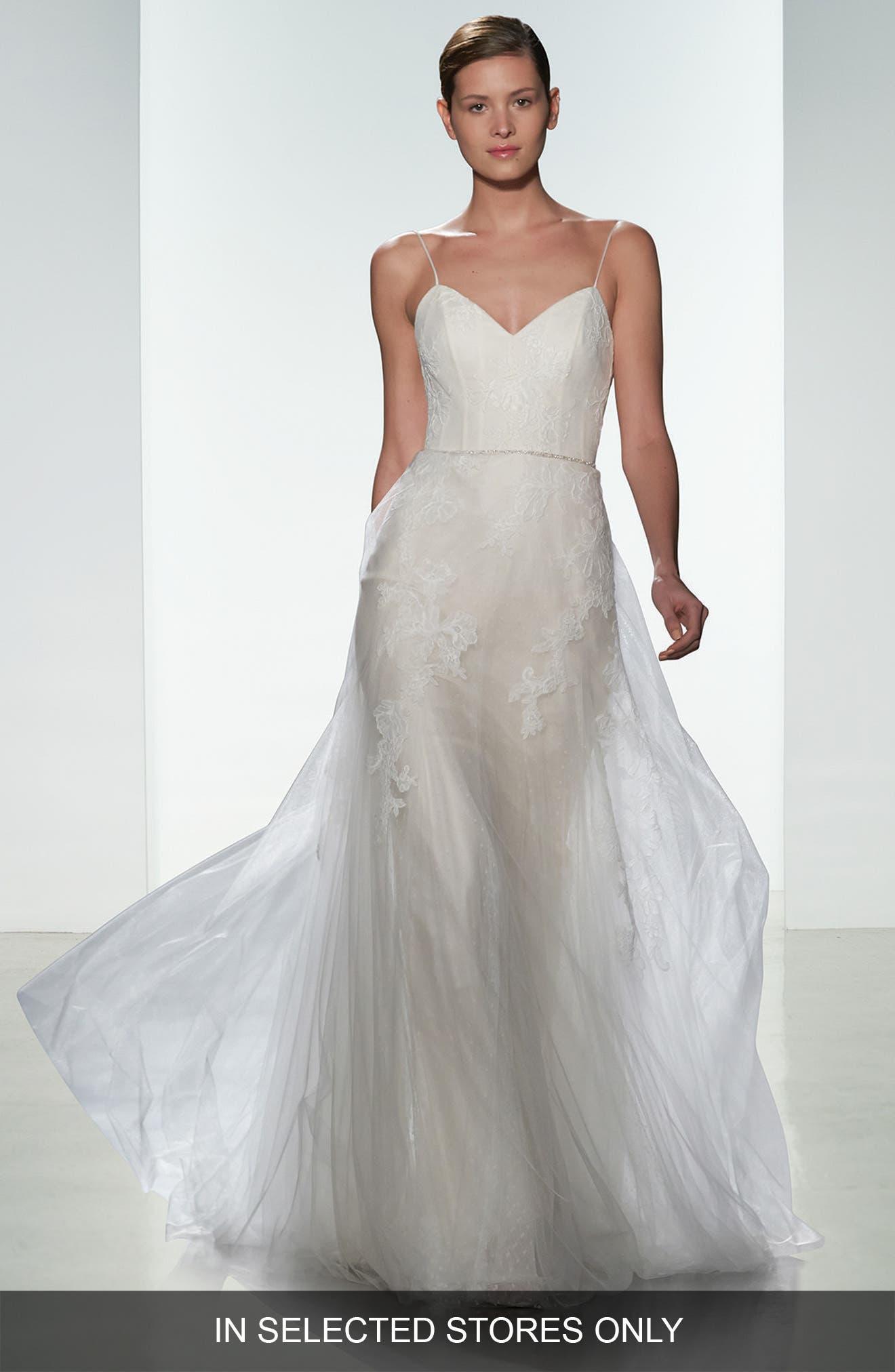 Main Image - Christos Bridal Effie Point dEsprit & Tulle Spaghetti Strap Gown