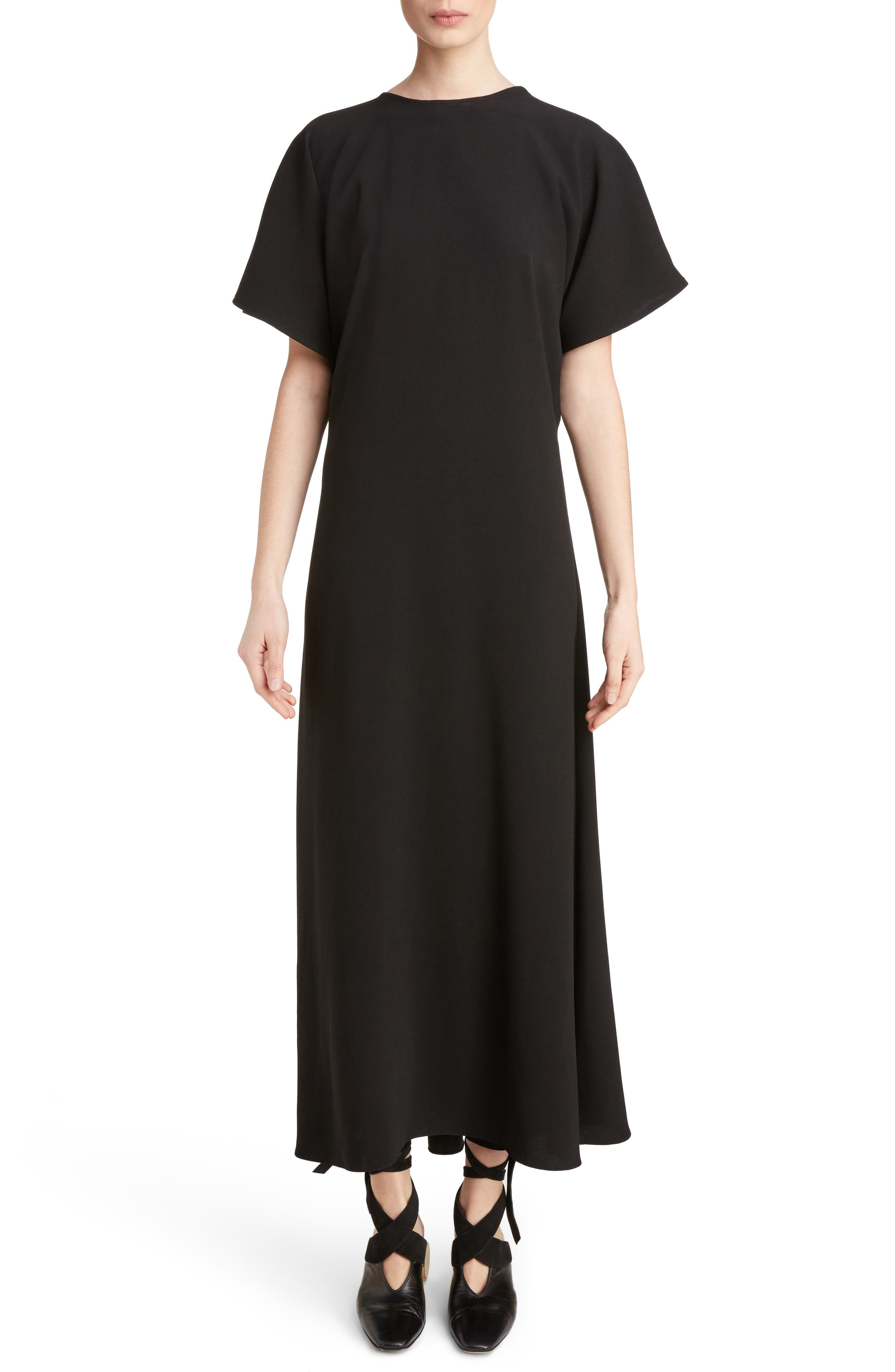 J.W.ANDERSON Cap Sleeve Maxi Dress,                         Main,                         color, Black