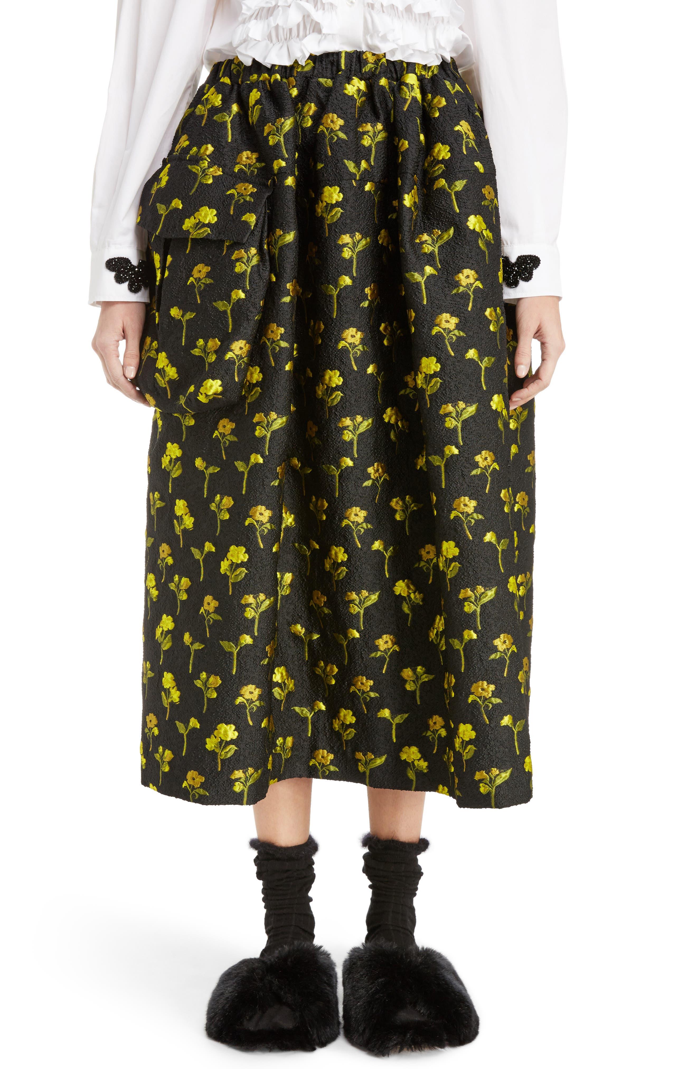Simone Rocha Smocked Waist Floral Jacquard Skirt