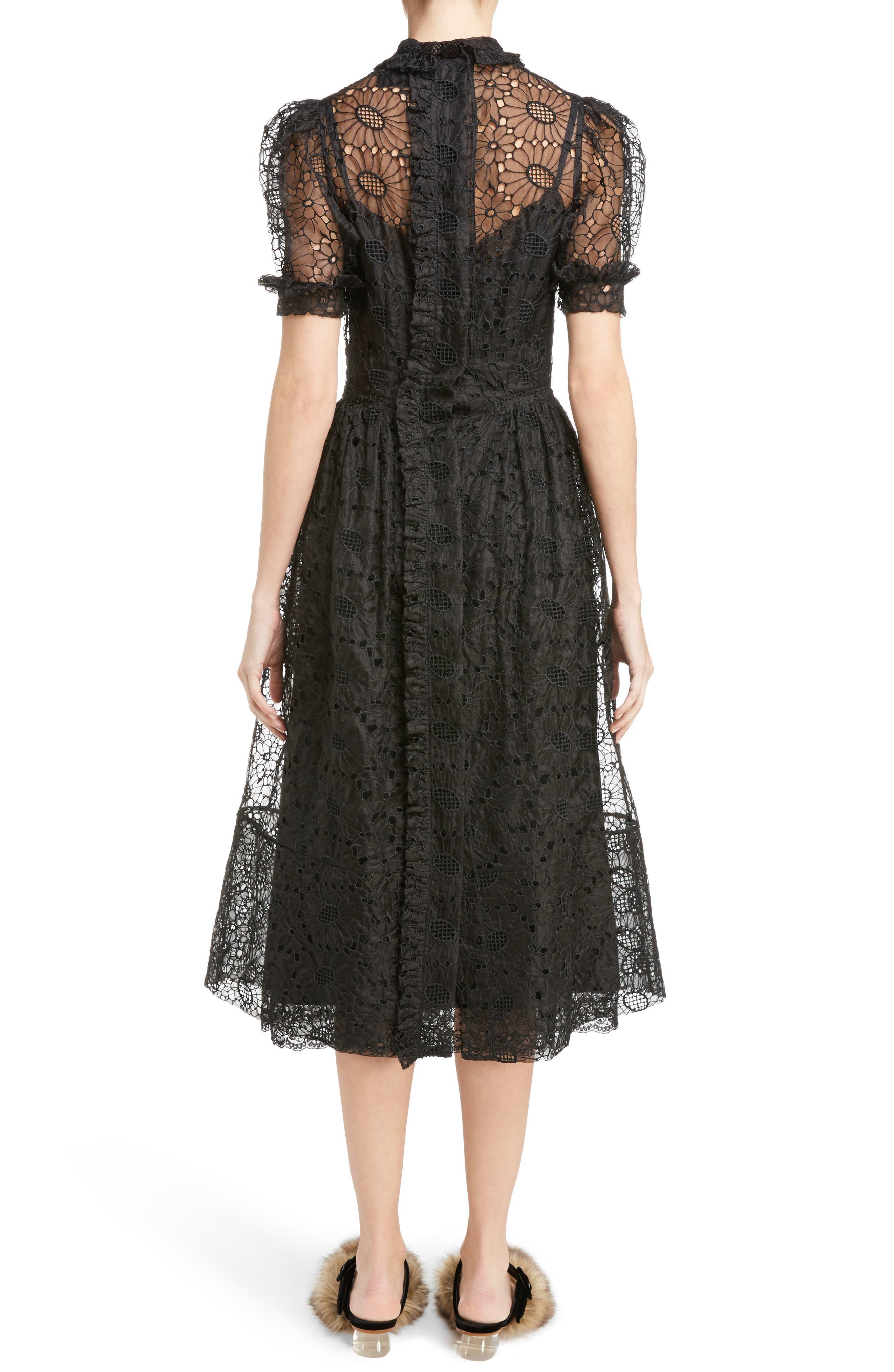 Alternate Image 2  - Simone Rocha Smocked Waist Floral Organza Dress