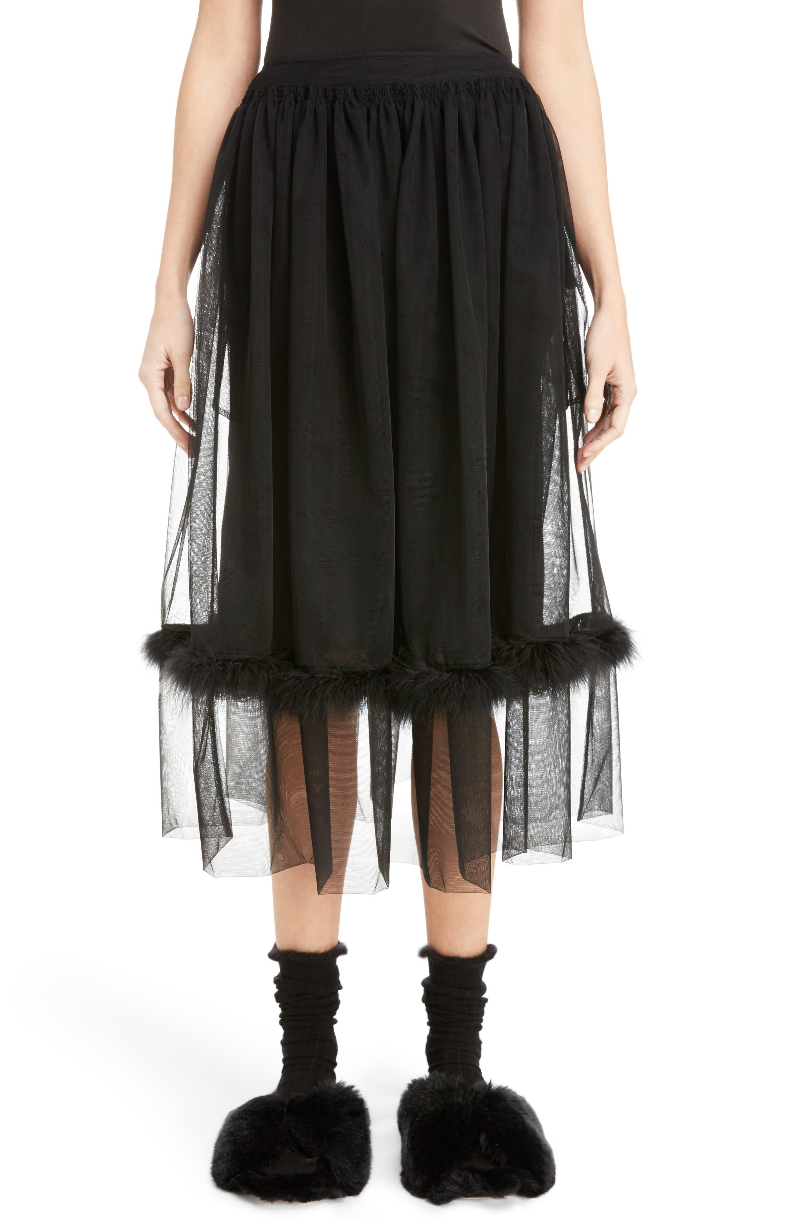 Marabou Trim Smock Waist Tulle Skirt,                         Main,                         color, Black