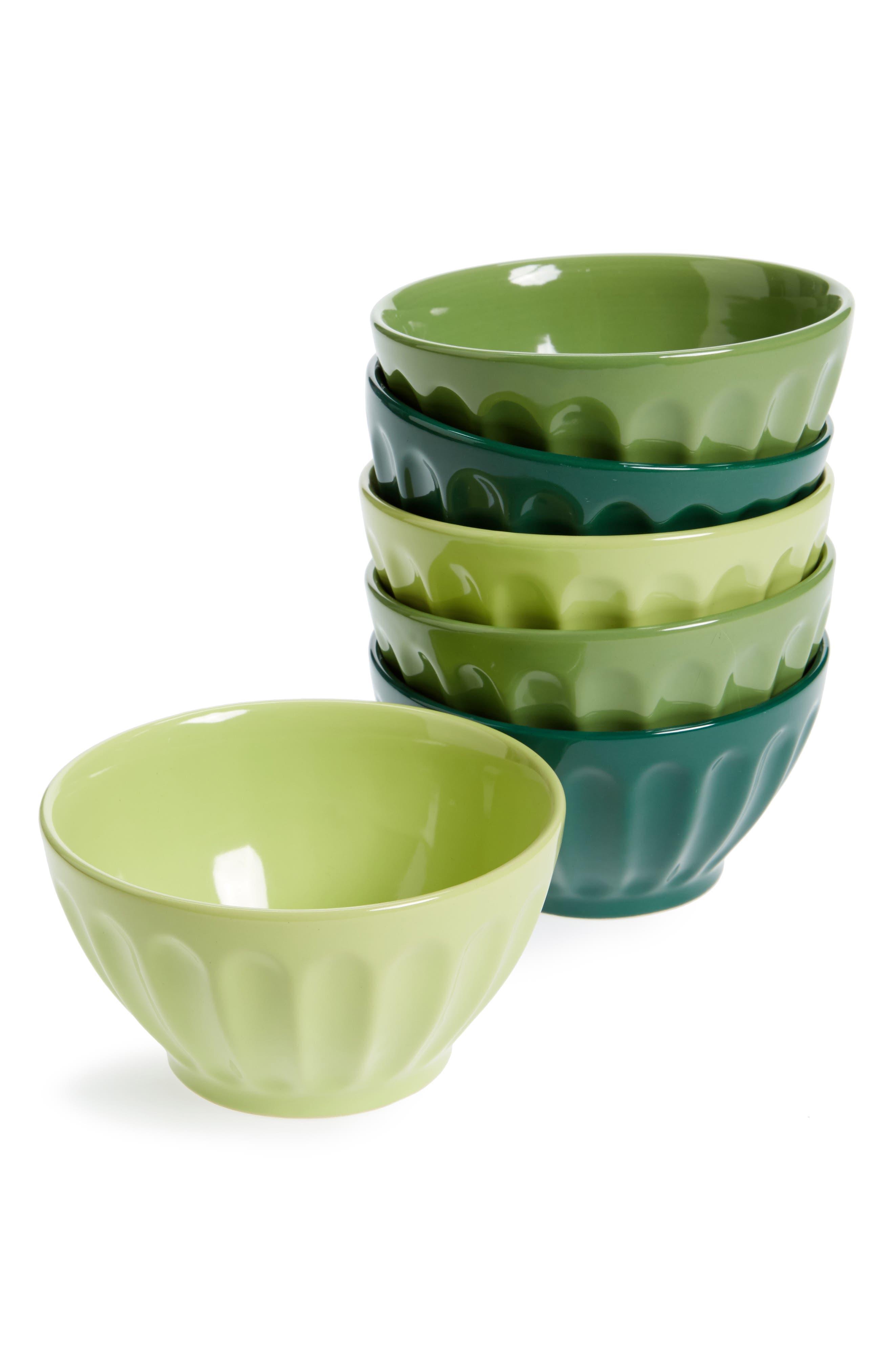 Set of 6 Latte Bowls,                         Main,                         color, Green