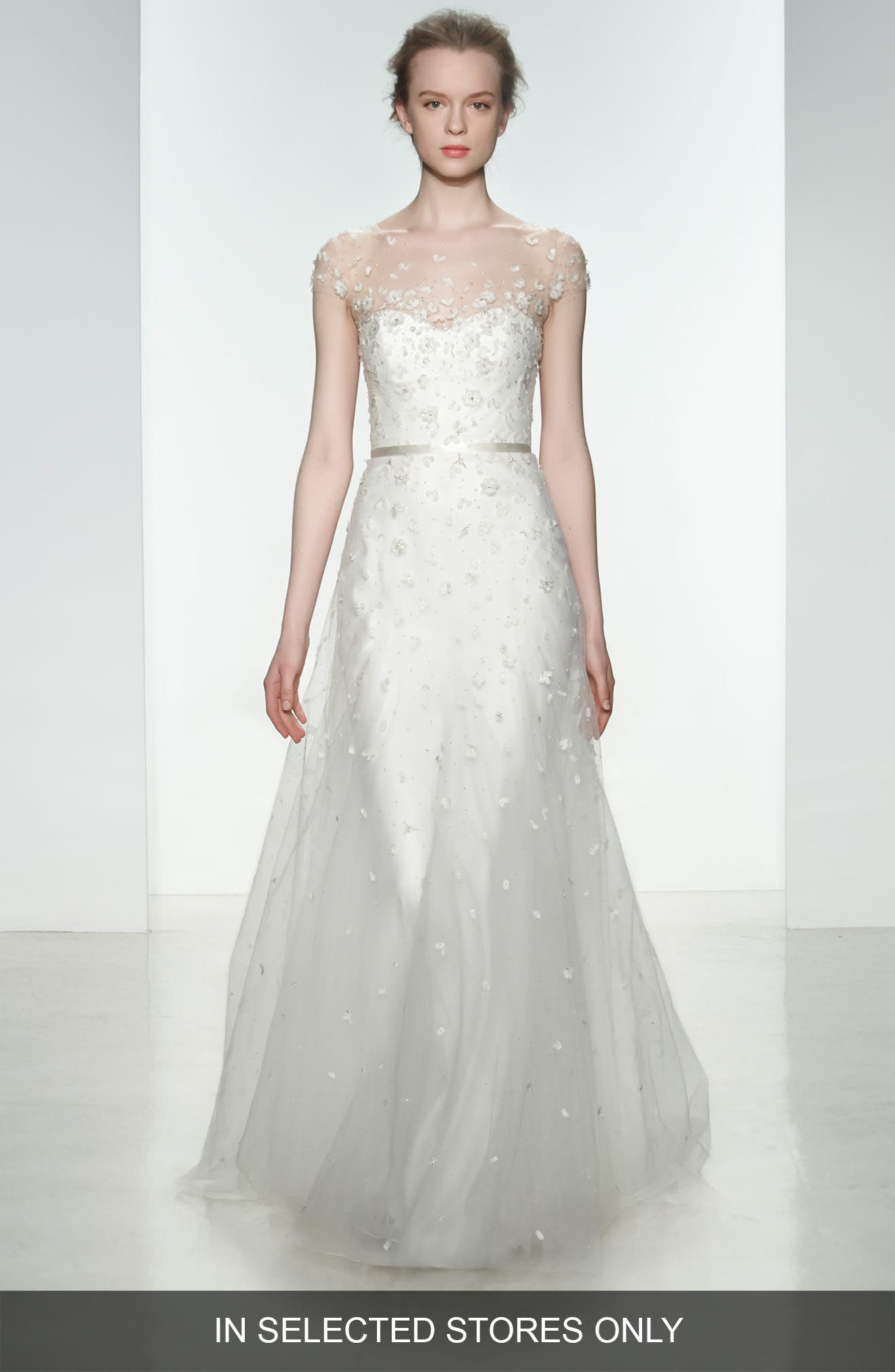 Ellie Embellished Illusion Neck Tulle Gown,                         Main,                         color, Ivory