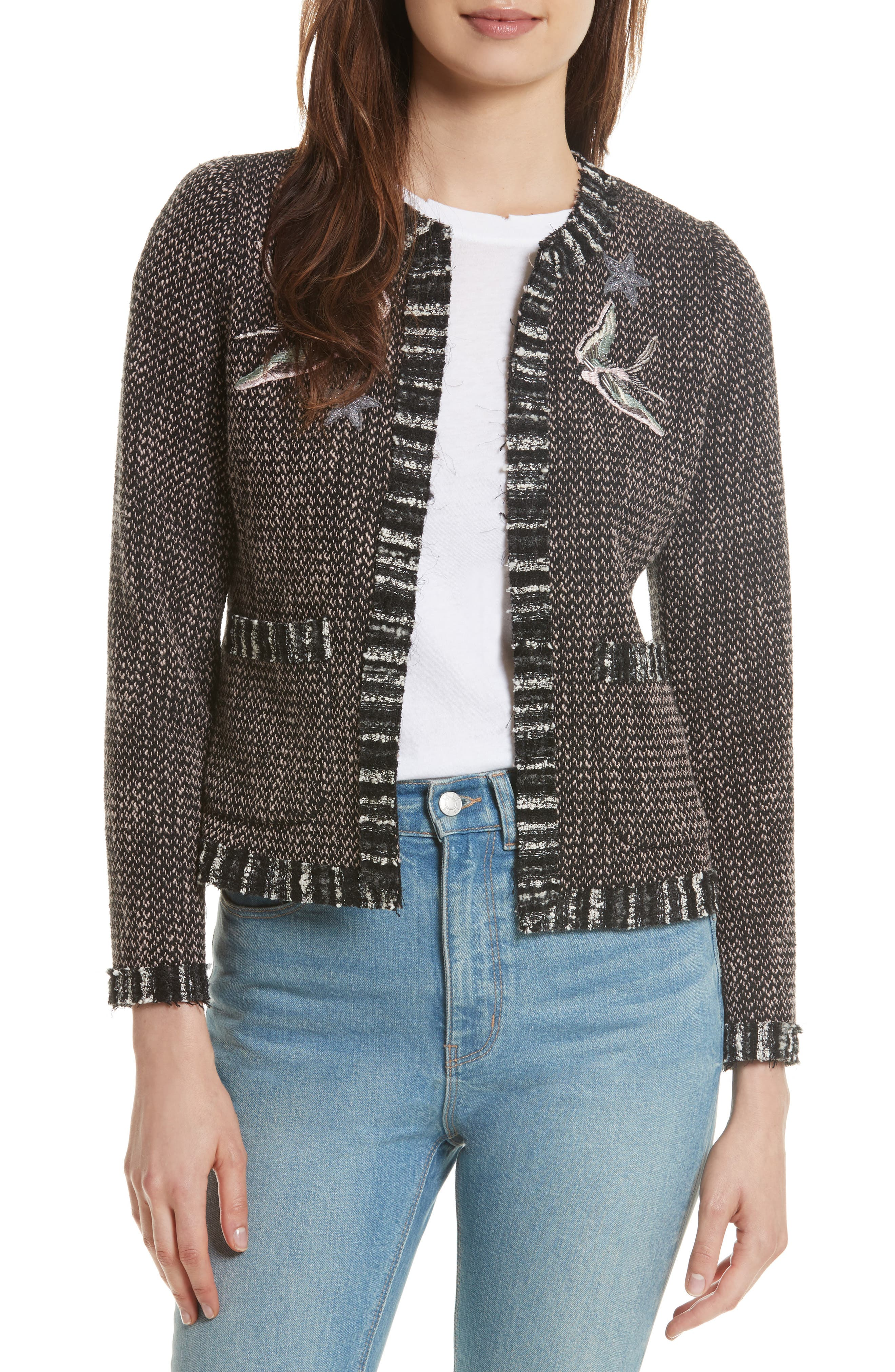 REBECCA TAYLOR Embellished Multi Tweed Jacket