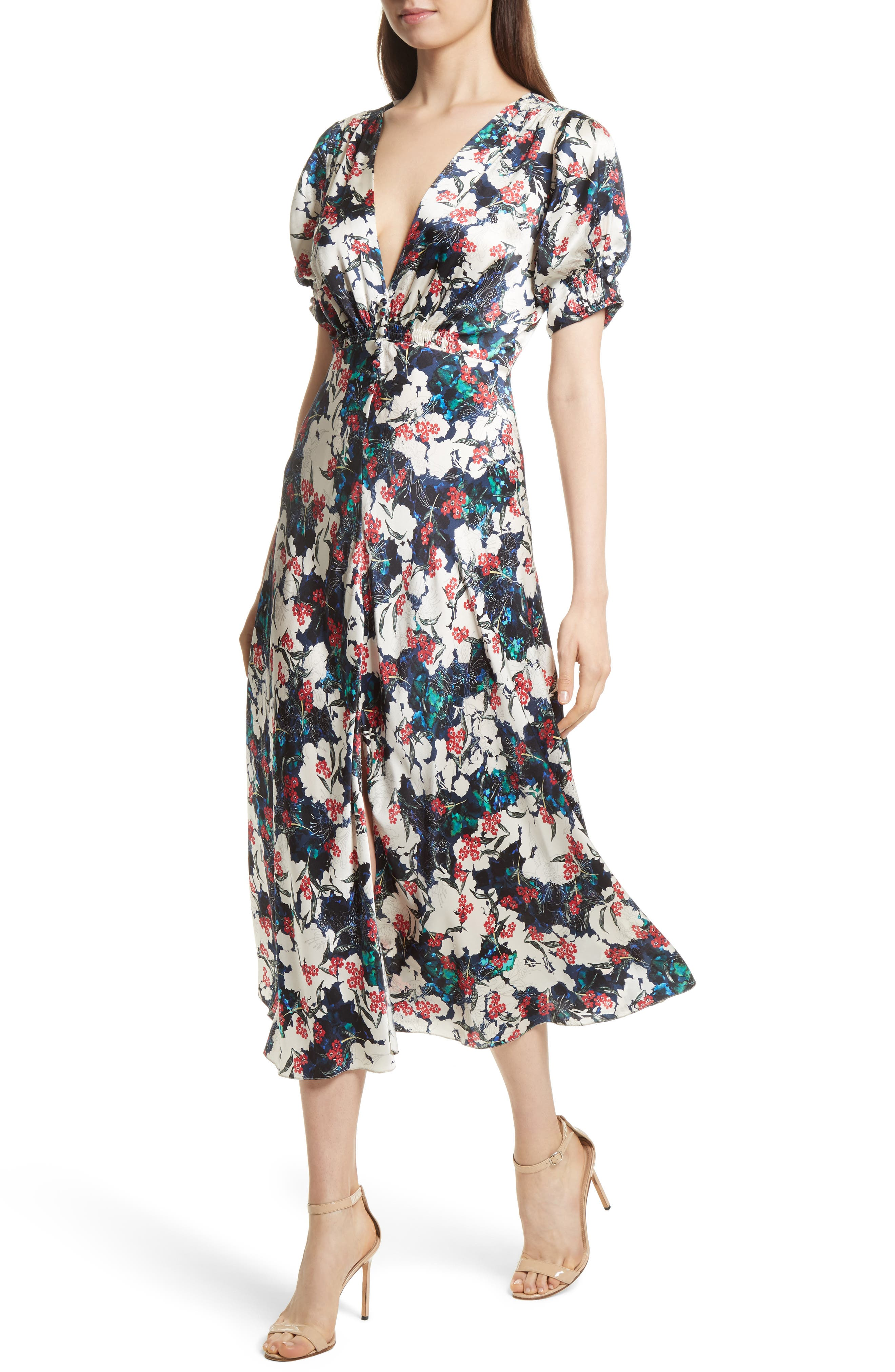 Alternate Image 4  - SALONI Lea Silk Midi Dress