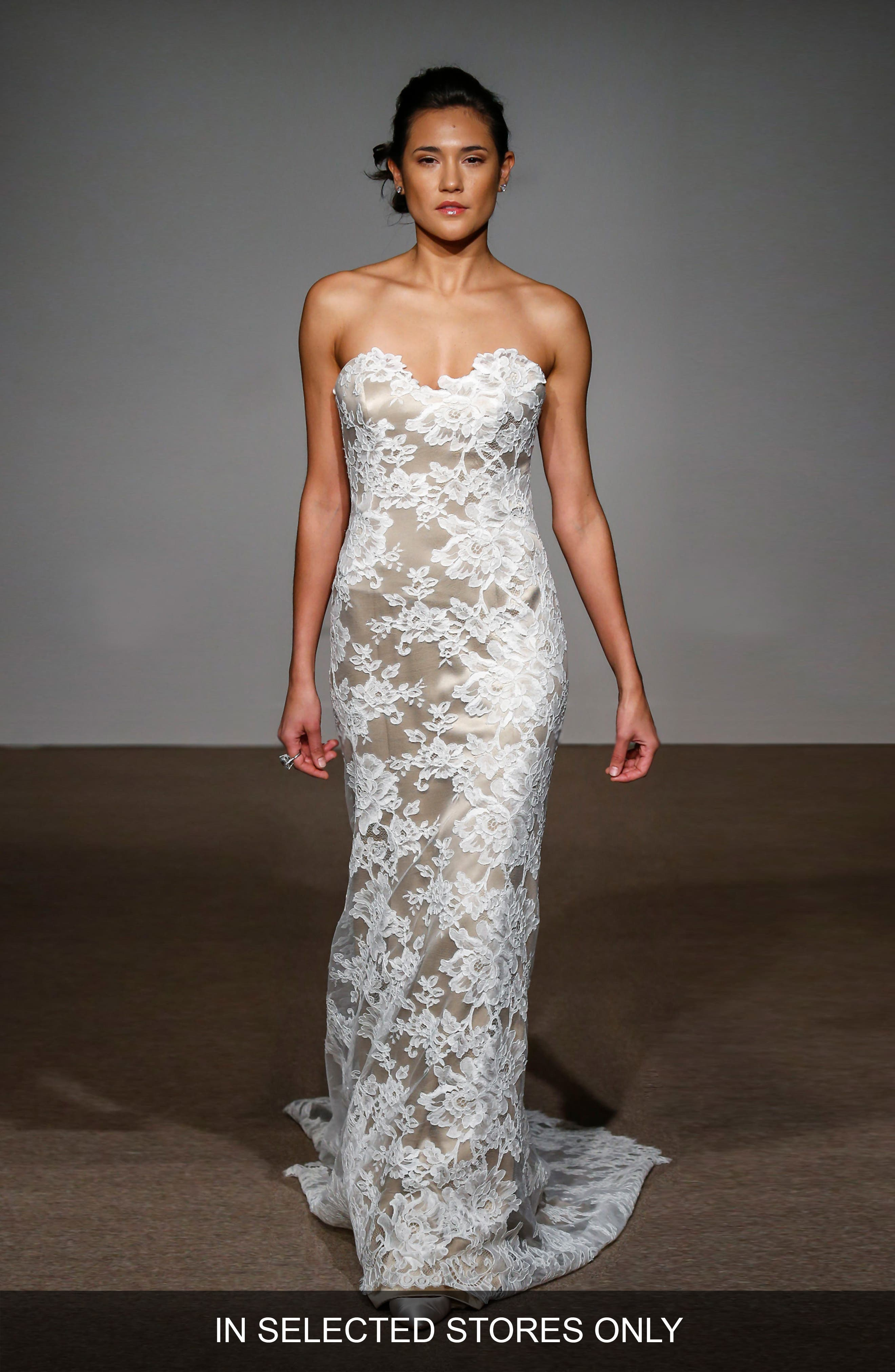 Anna Maier Couture Collette Strapless Silk & French Lace Gown