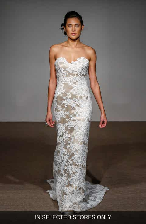 Anna Maier Couture Collette Strapless Silk French Lace Gown