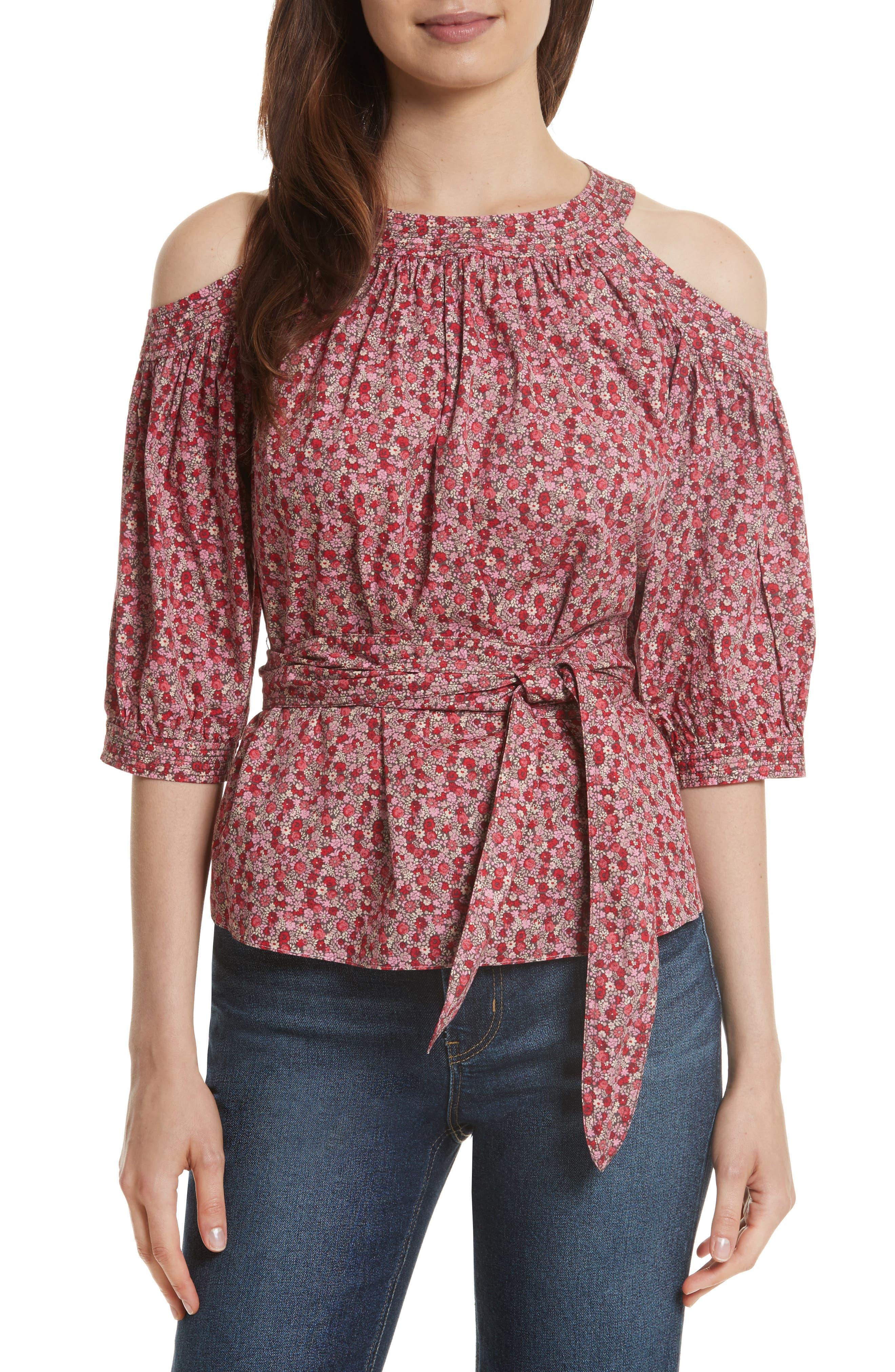 Petite Rose Cold Shoulder Top,                         Main,                         color, Pale Blush Combo