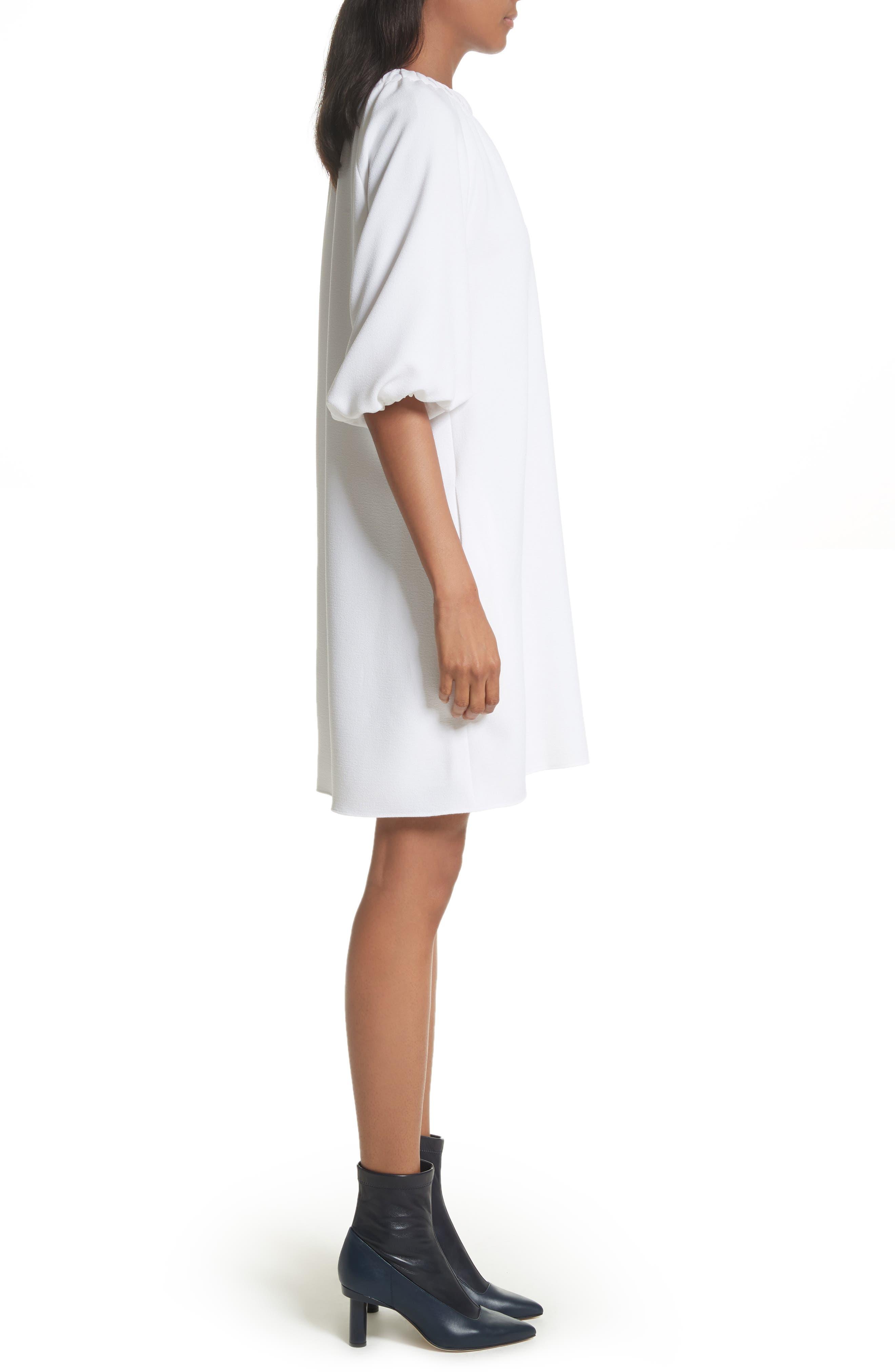 Shirred Neck Mica Crepe Shift Dress,                             Alternate thumbnail 3, color,                             White