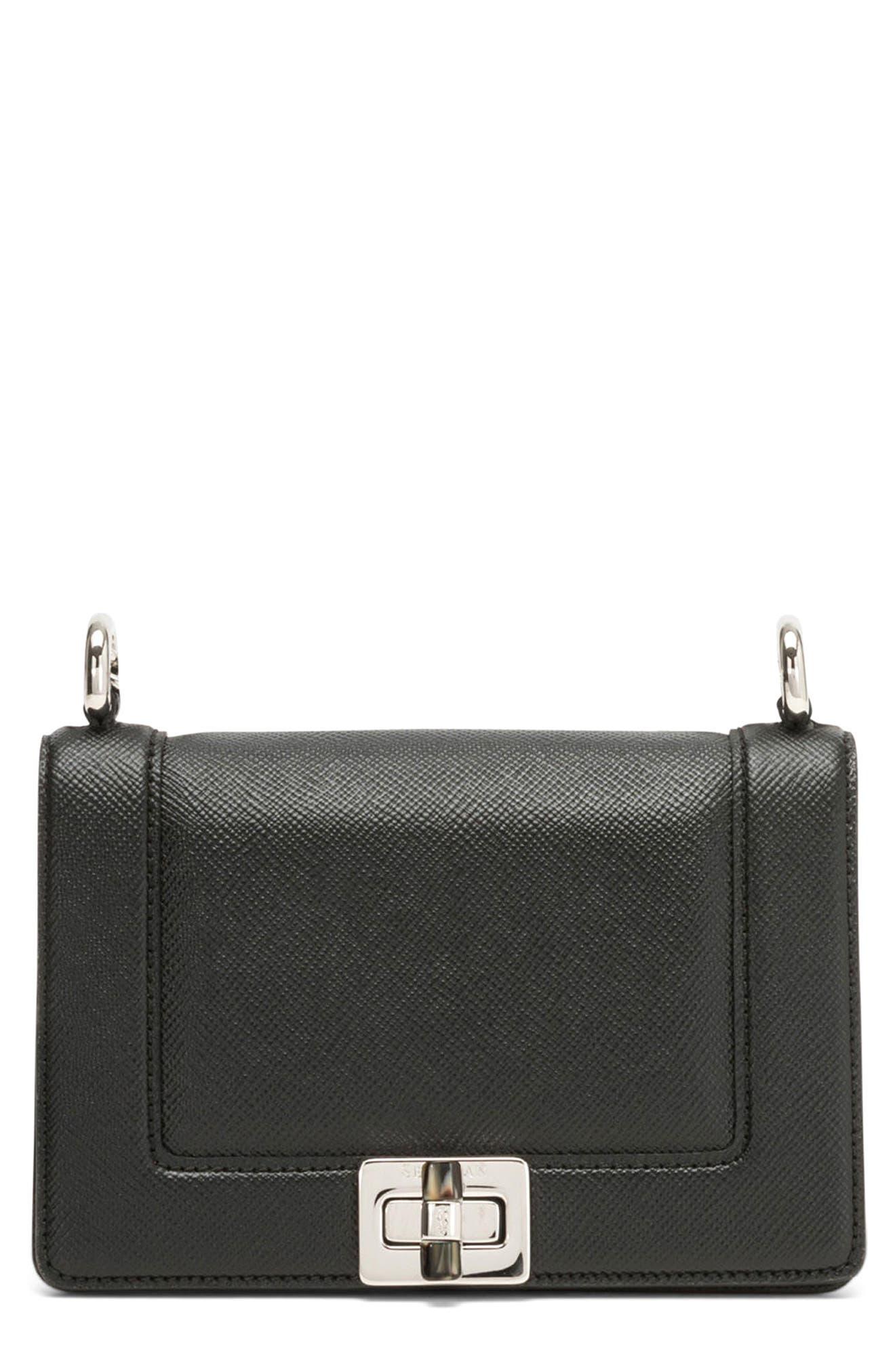 Mini Roberta Evolution Leather Crossbody Bag,                             Main thumbnail 1, color,                             Black