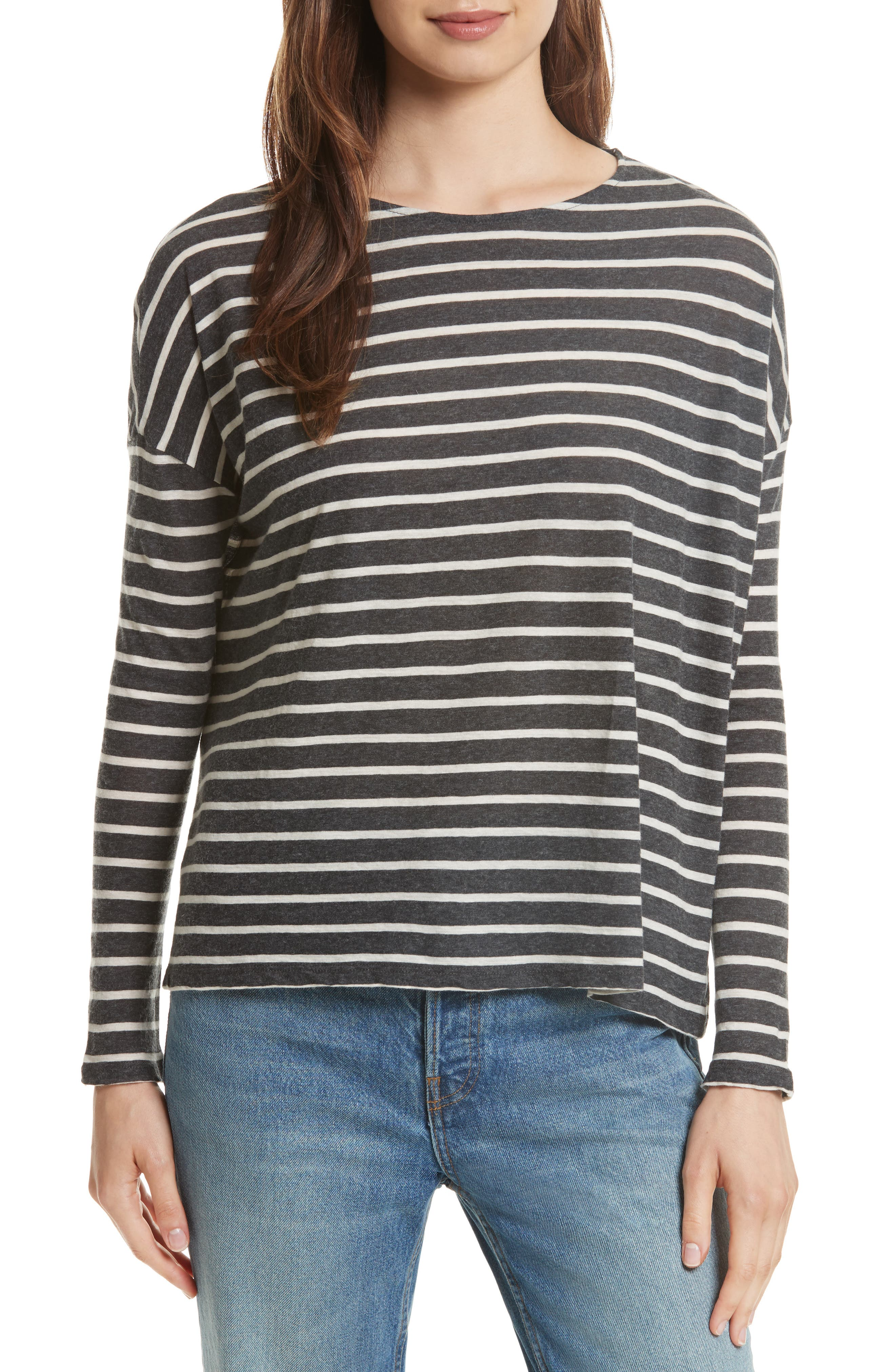 Majestic Filatures Stripe Cotton & Cashmere Boatneck Top