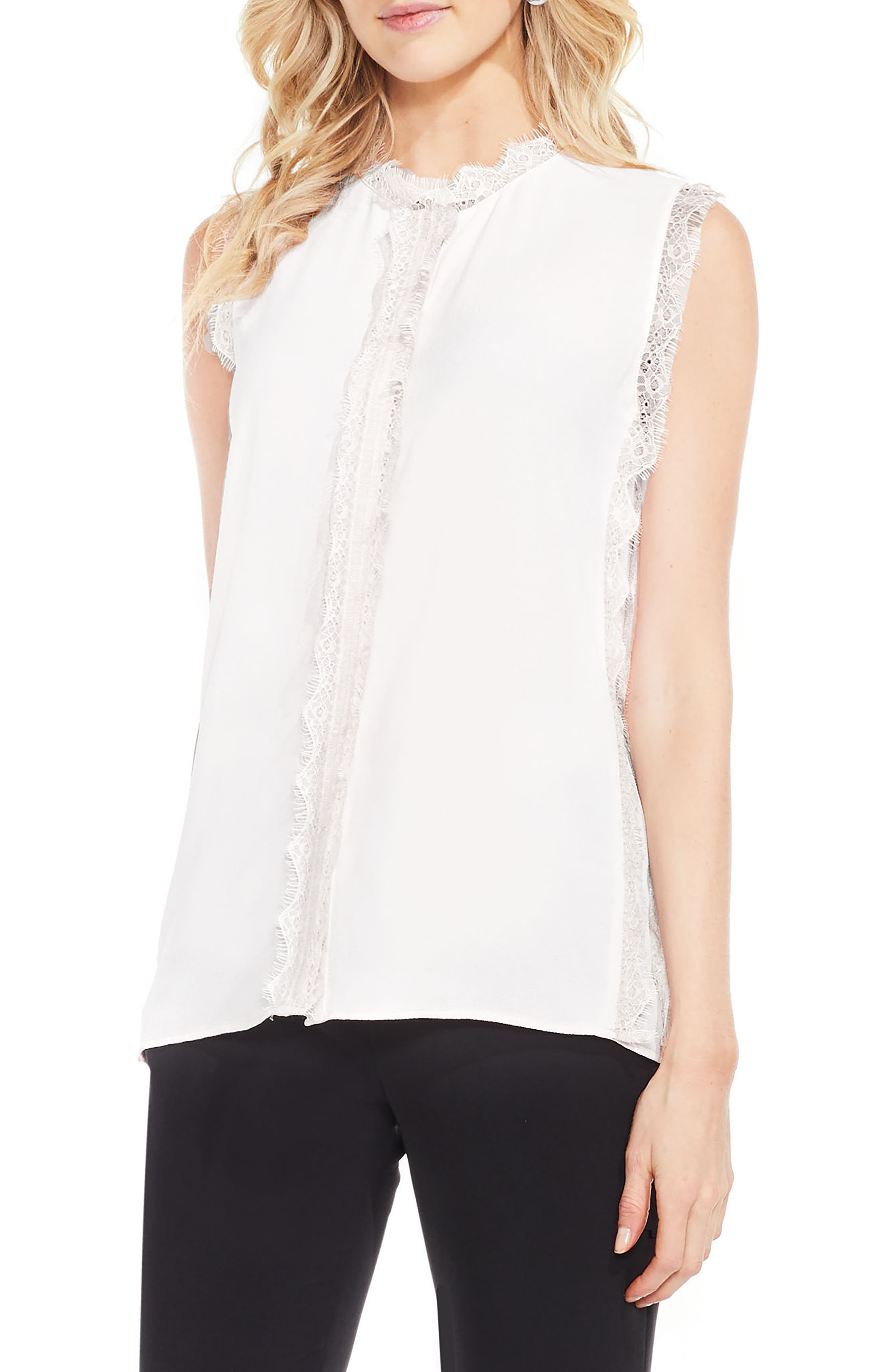 Lace Trim Sleeveless Blouse,                         Main,                         color, New Ivory