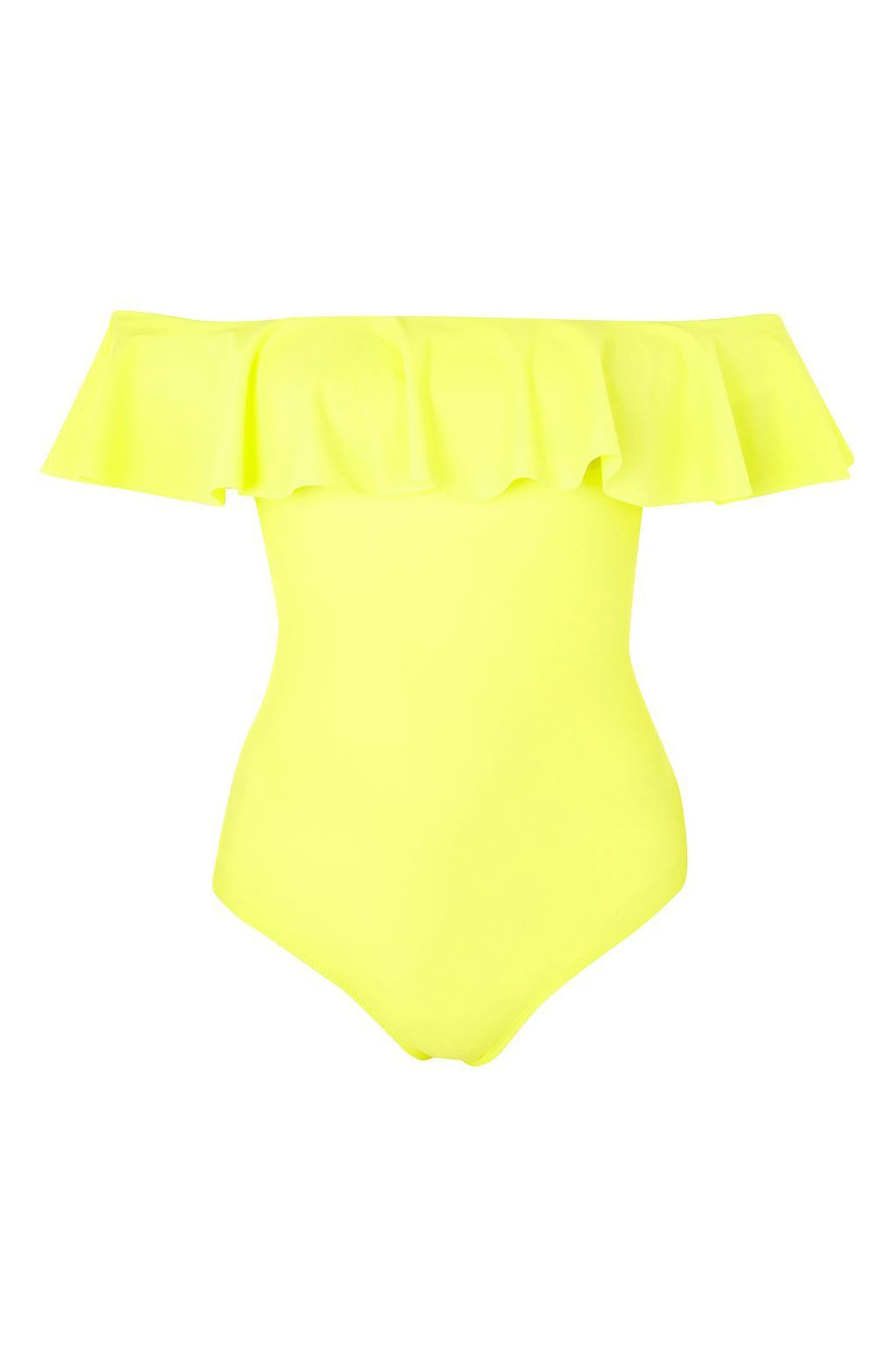 Topshop Ruffle Off the Shoulder One-Piece Swimsuit