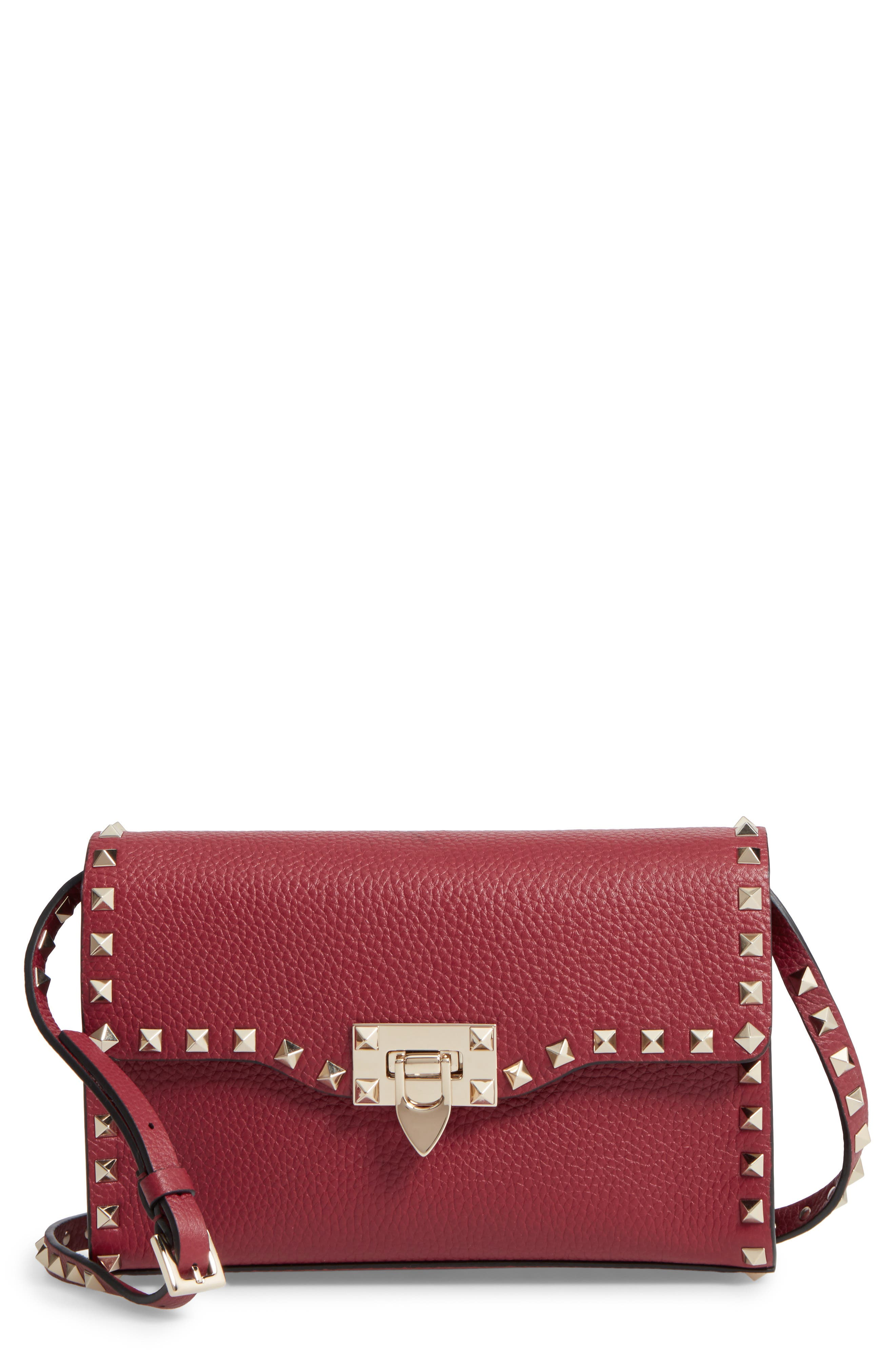 Alternate Image 1 Selected - VALENTINO GARAVANI Medium Rockstud Leather Messenger Bag