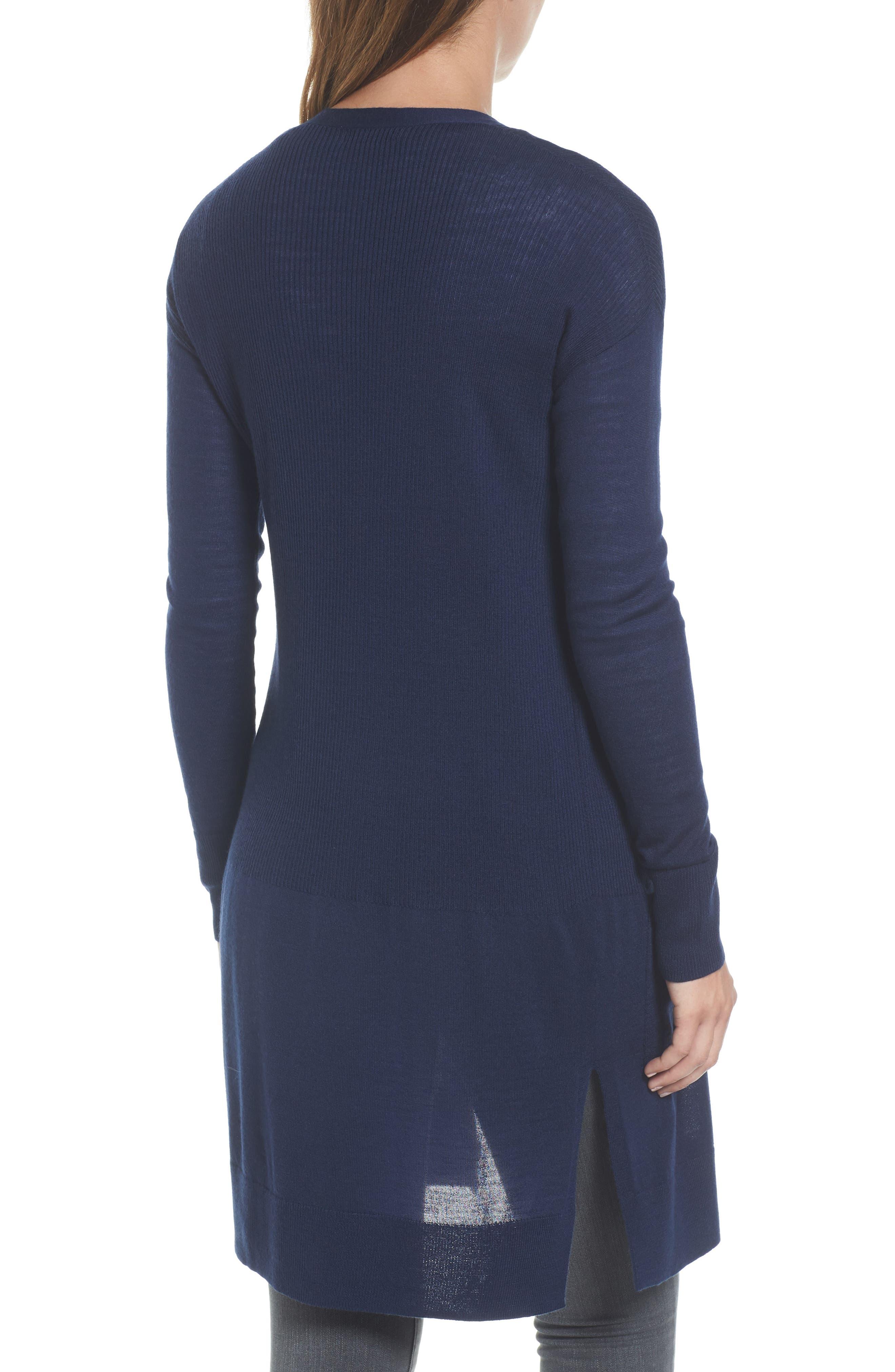 Alternate Image 2  - Halogen® Rib Knit Wool Blend Cardigan (Regular & Petite)
