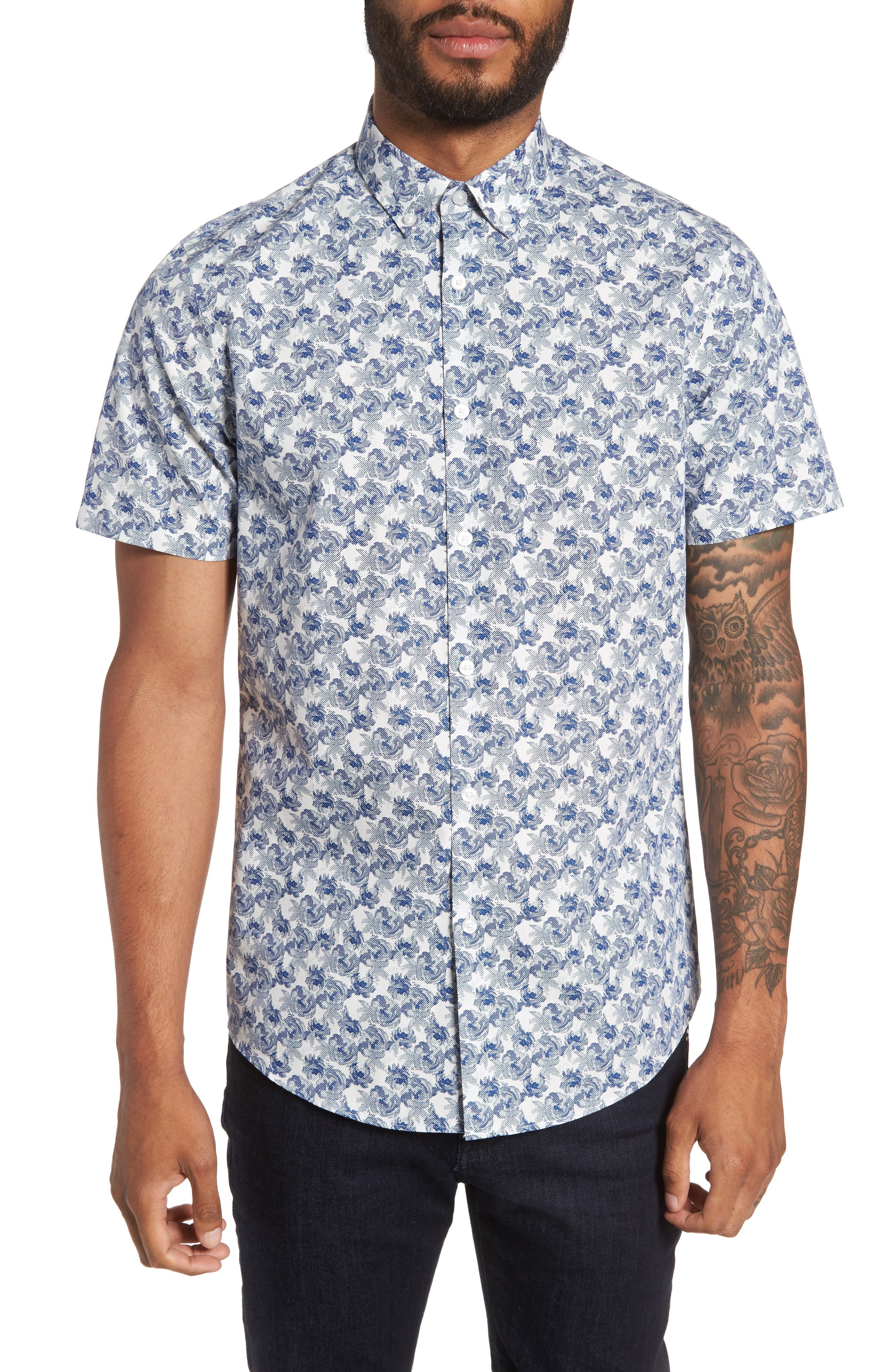Slim Fit Print Sport Shirt,                         Main,                         color, Grey Fog Blue Dot Rose Print