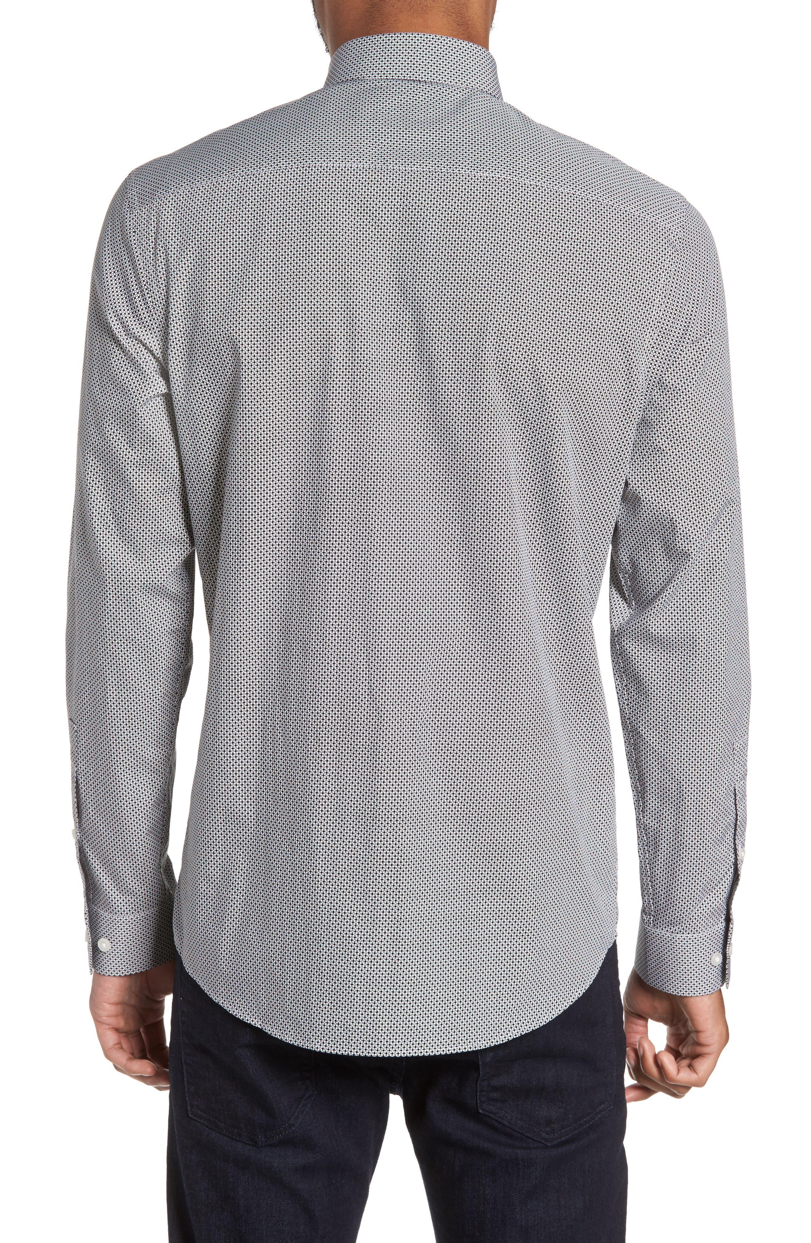 Dot Print Sport Shirt,                             Alternate thumbnail 2, color,                             White Black Mini Circle Print