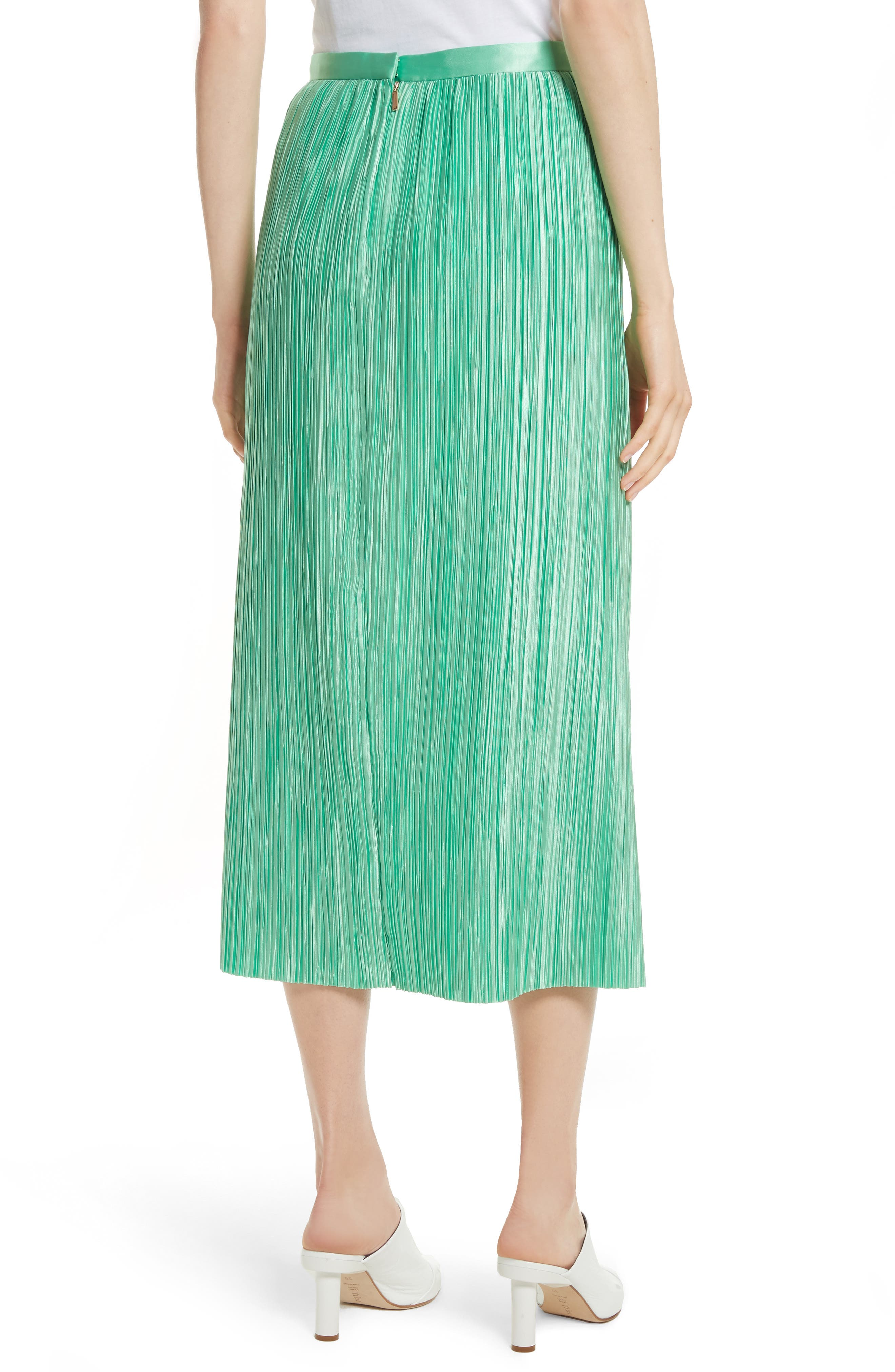 Plissé Pleated Midi Skirt,                             Alternate thumbnail 2, color,                             Kelly Green