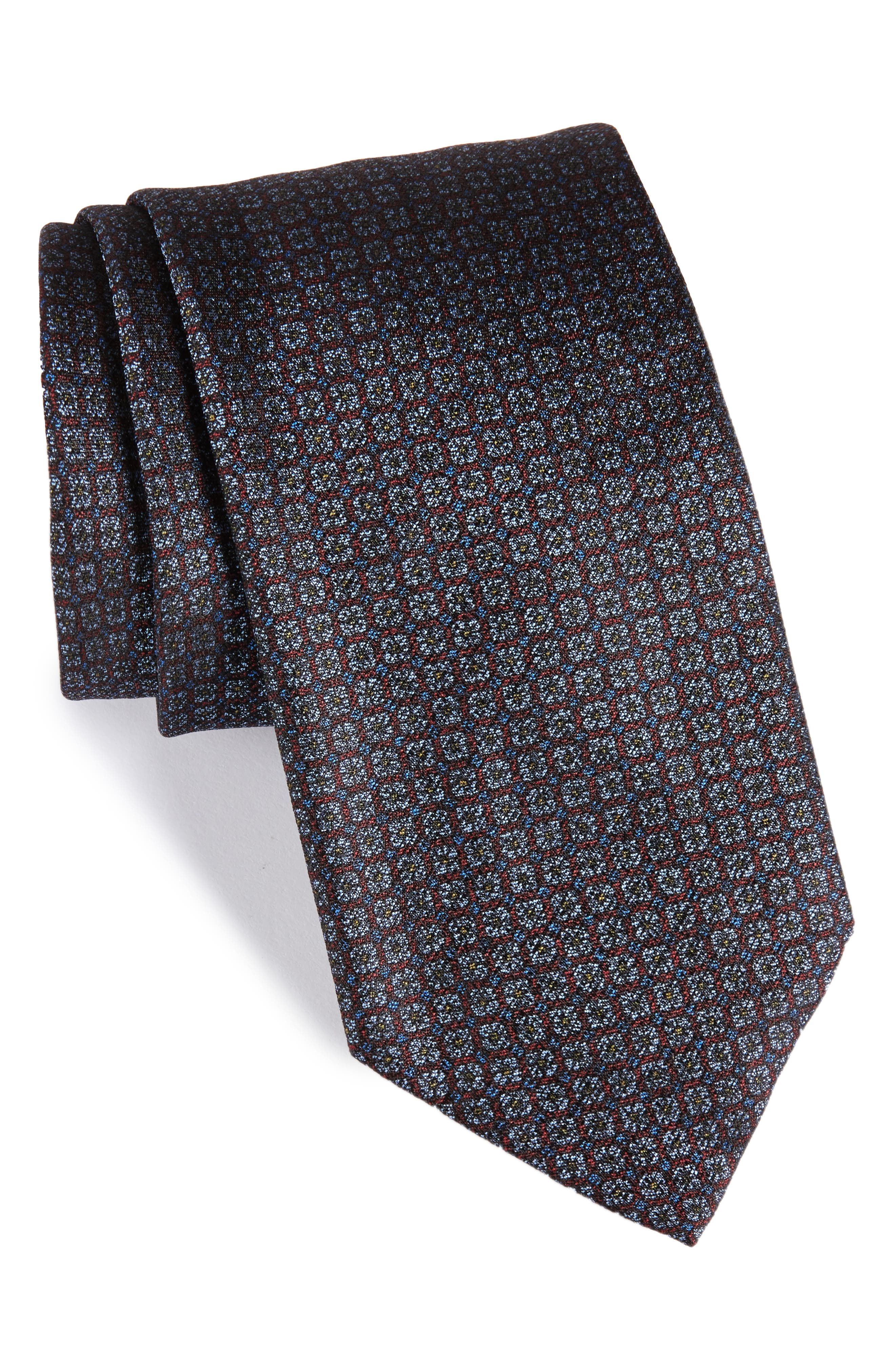 Geometric Silk Tie,                         Main,                         color, Burgundy/ Grey