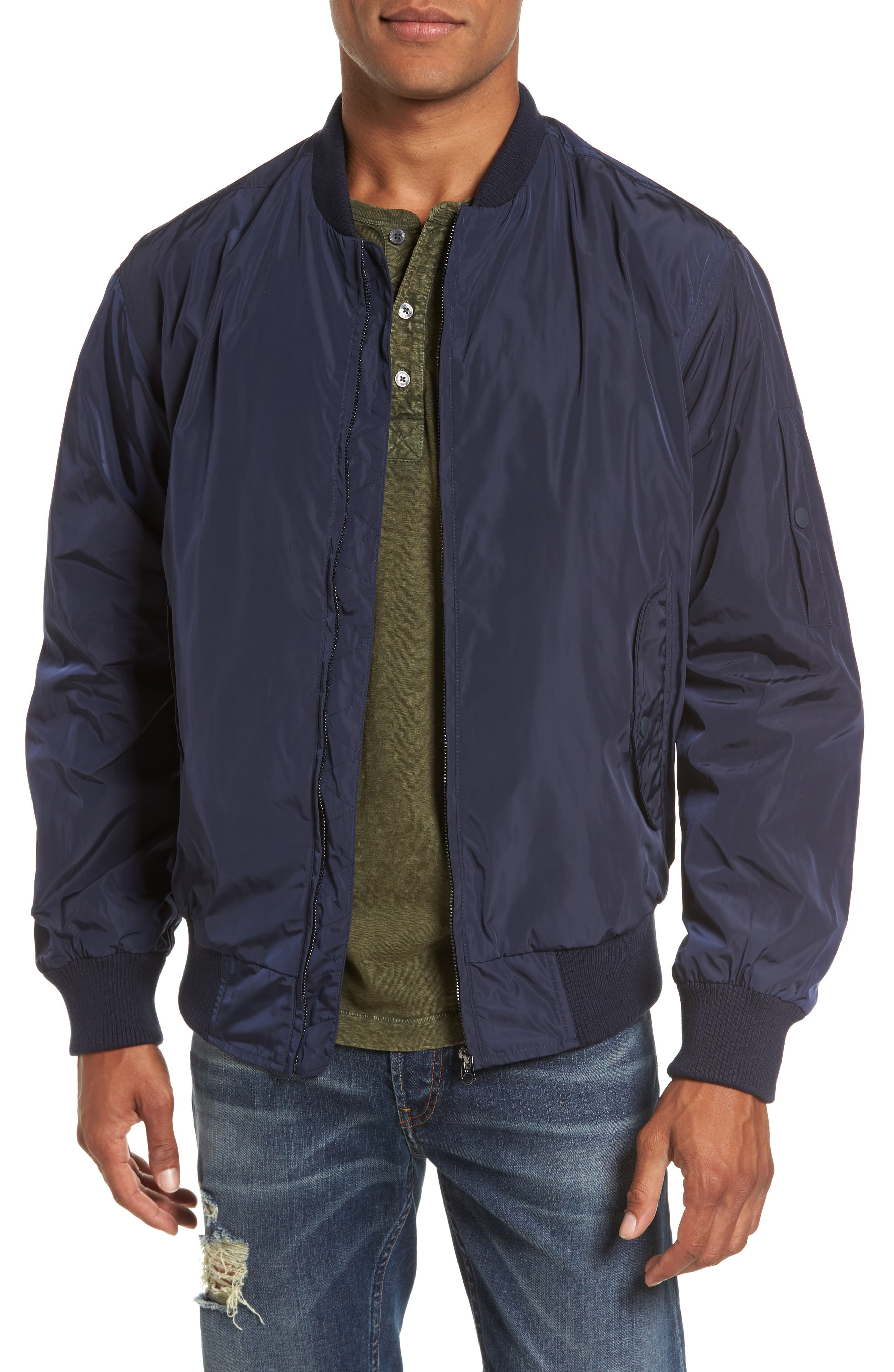 French Connection Boulevard Regular Fit Light Bomber Jacket