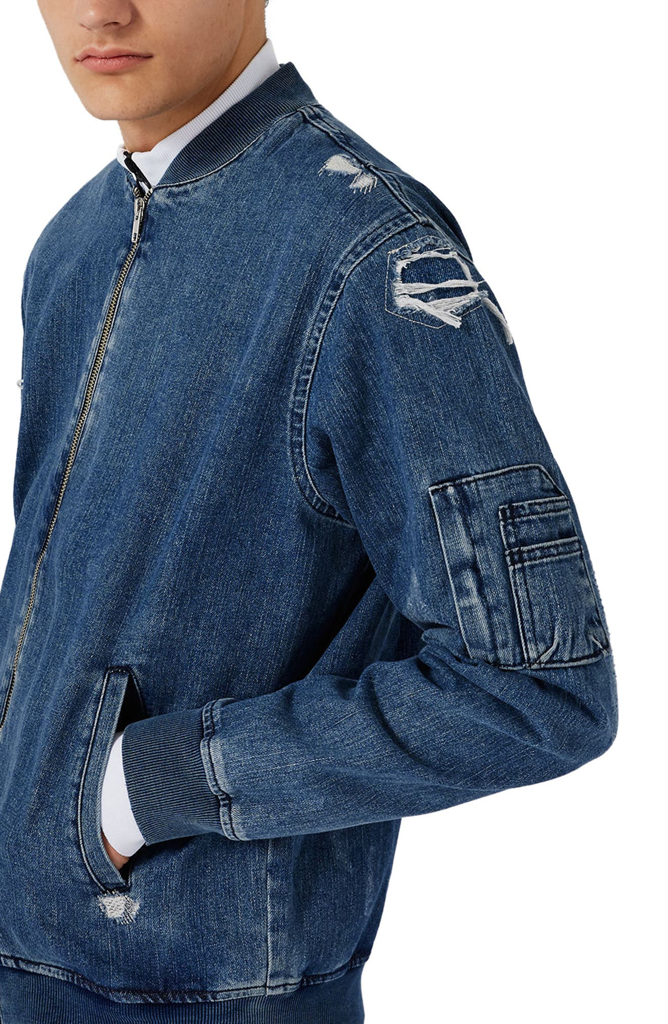 Alternate Image 4  - Topman Distressed Denim Bomber Jacket