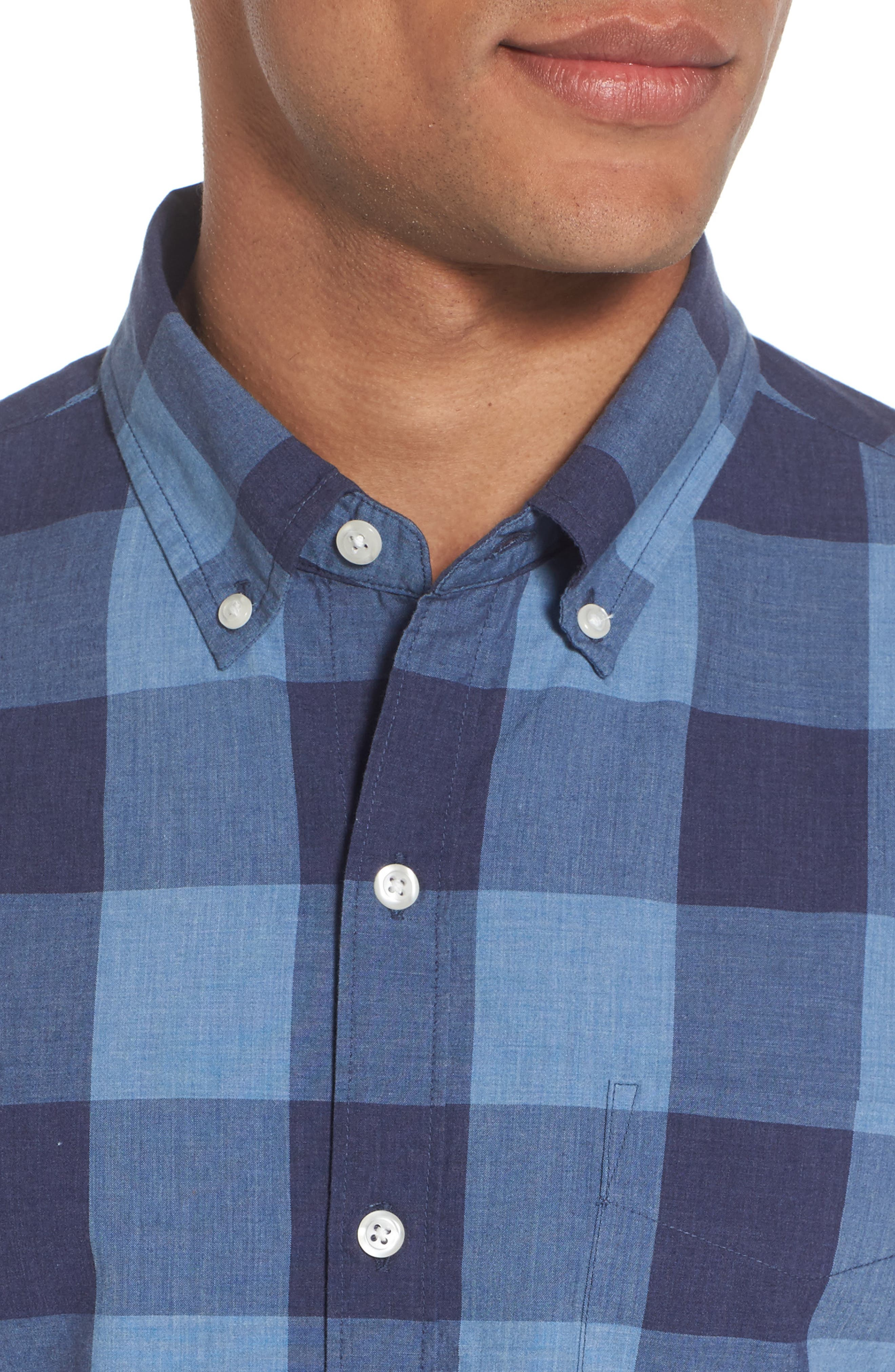 Slim Fit Washed Check Sport Shirt,                             Alternate thumbnail 4, color,                             Blue Grey Plaid