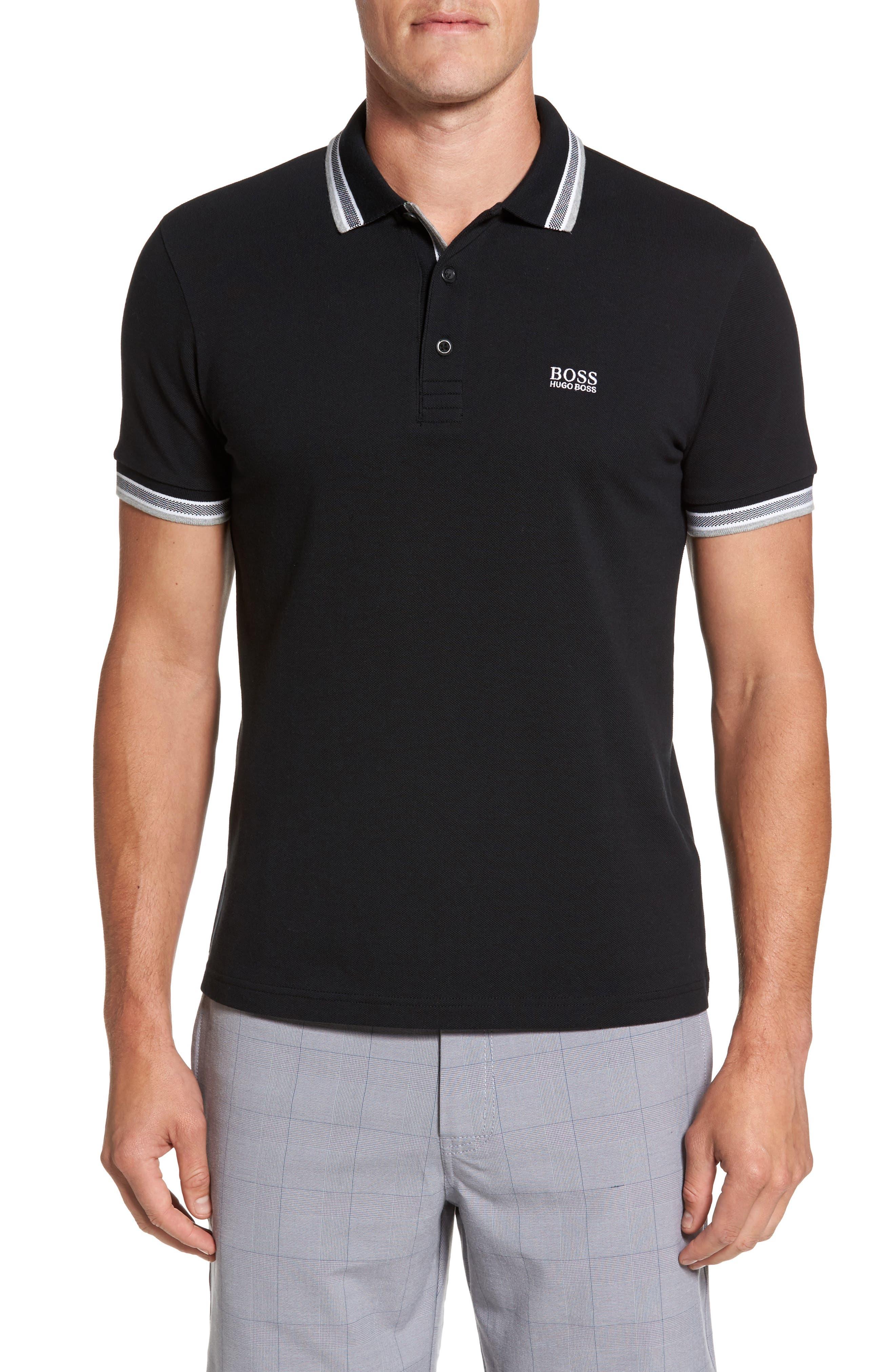 'Basic' Piqué Golf Polo,                         Main,                         color, Black