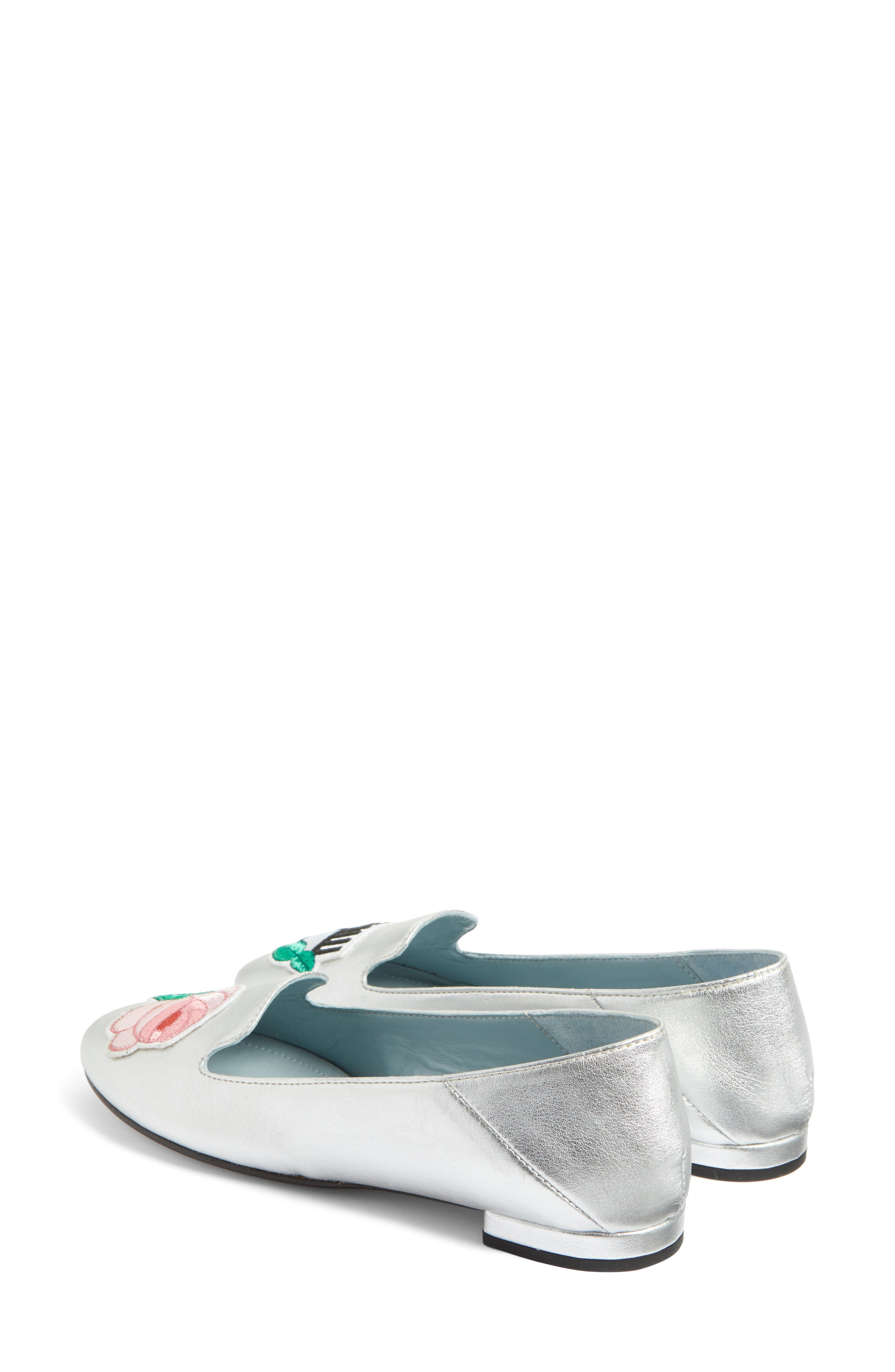 Flower Power Convertible Loafer Flat,                             Alternate thumbnail 3, color,                             Silver