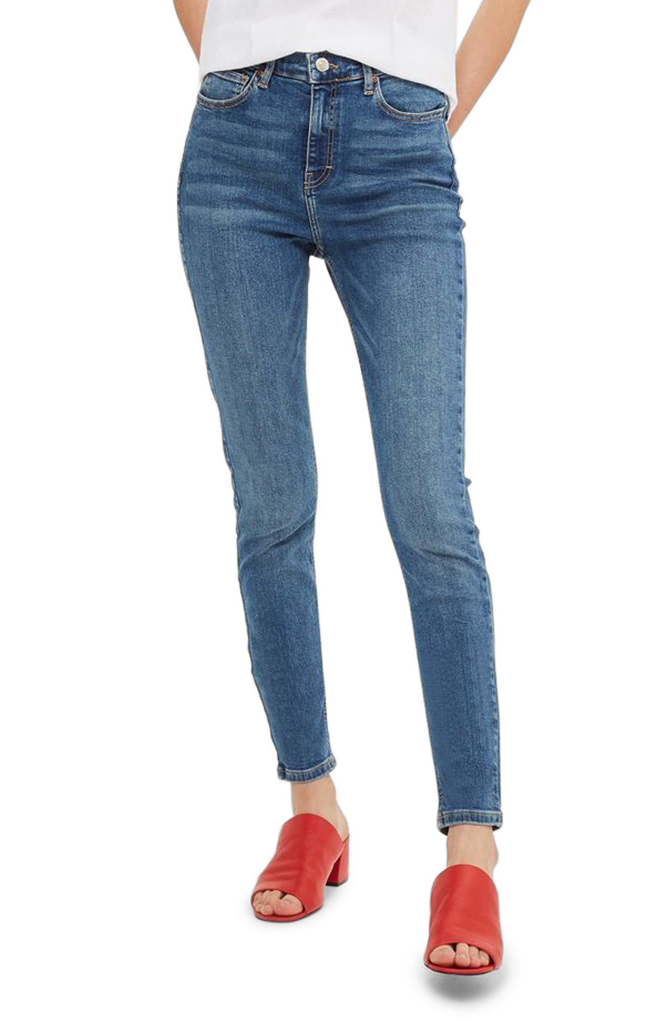 Alternate Image 1 Selected - Topshop Jamie High Waist Ankle Skinny Jeans (Tall)