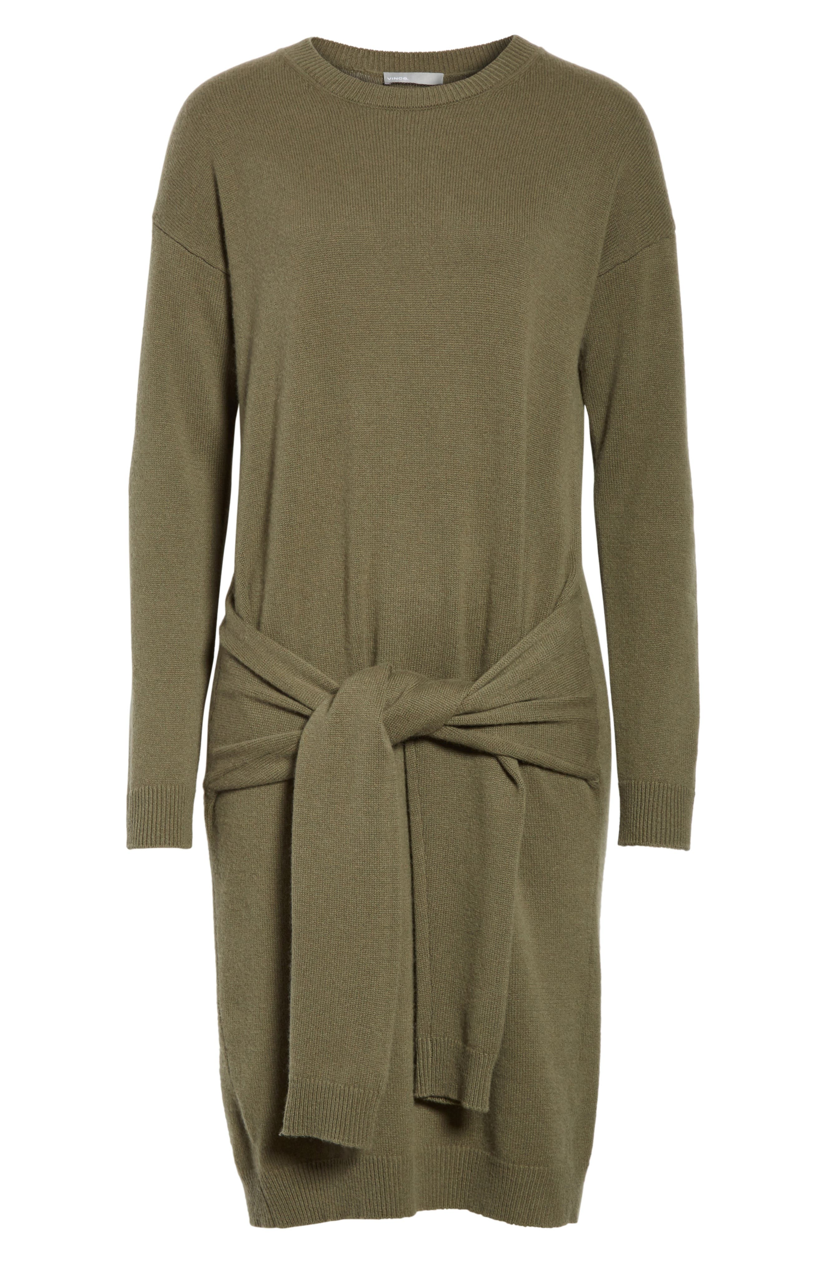 Long Sleeve Tie Waist Sweater Dress,                             Alternate thumbnail 6, color,                             Olivewood