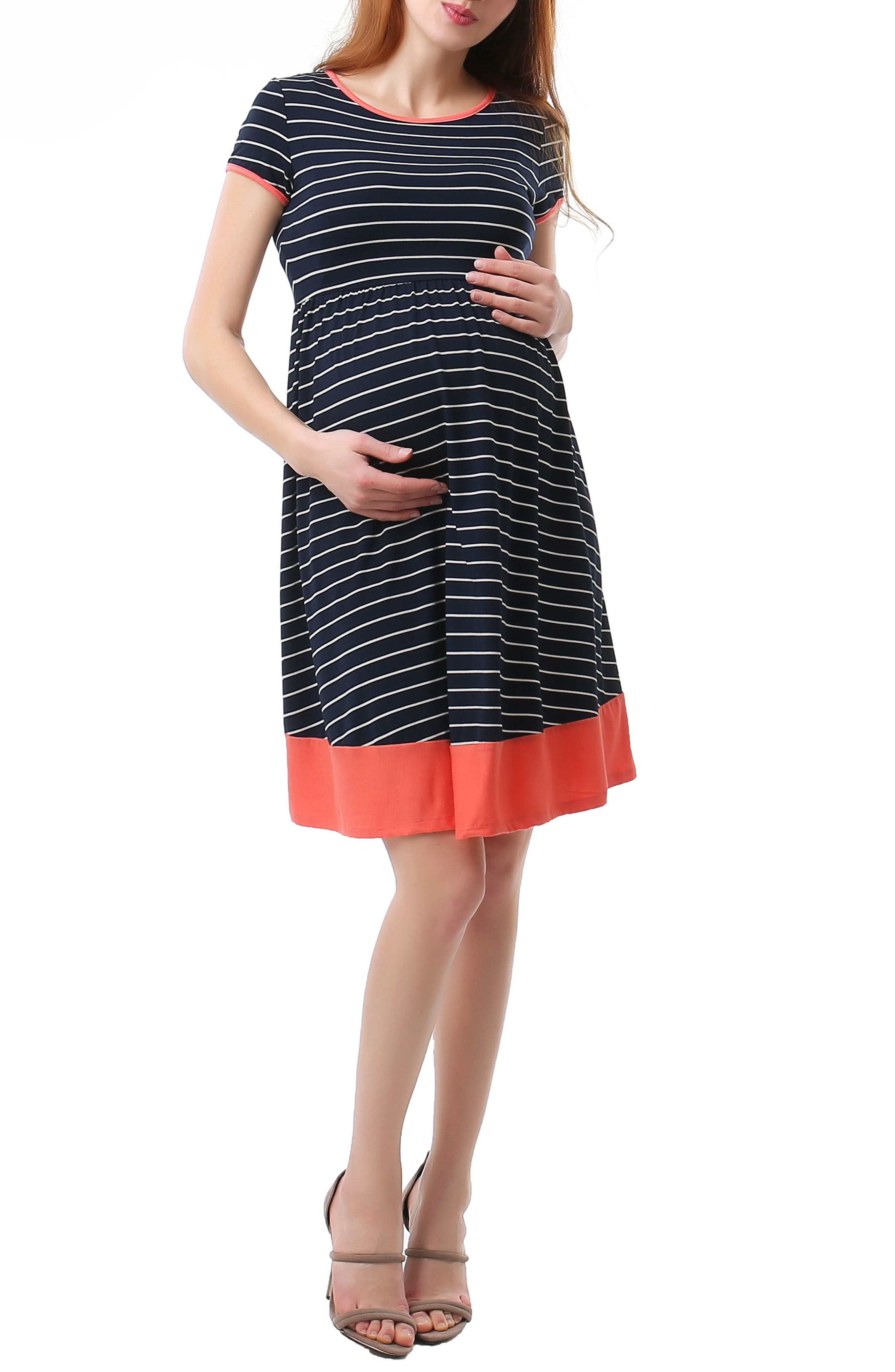 Kira Stripe Maternity Skater Dress,                         Main,                         color, Navy/ Ivory
