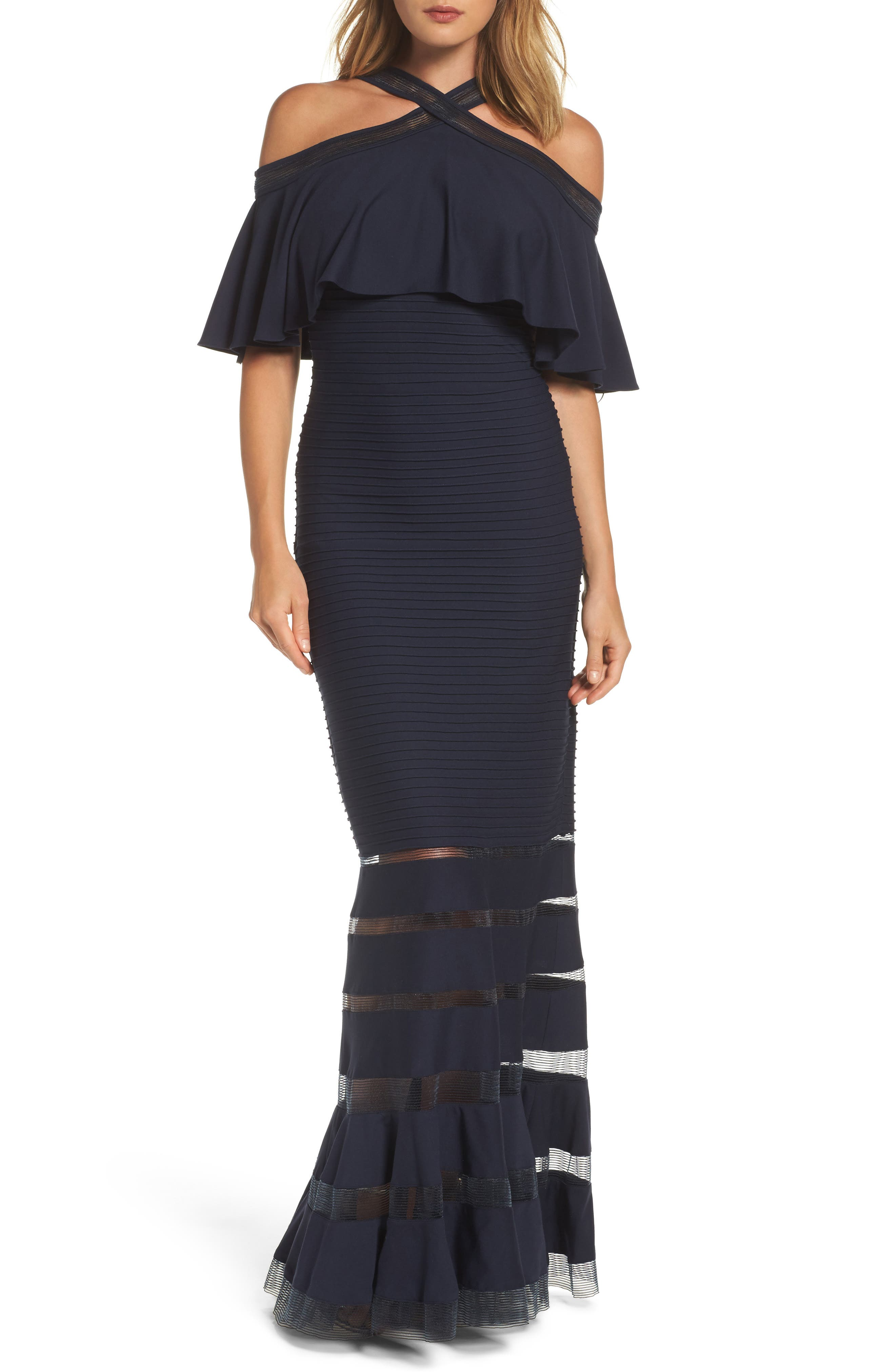 Alternate Image 1 Selected - Tadashi Shoji Jersey Cold-Shoulder Gown (Regular & Petite)
