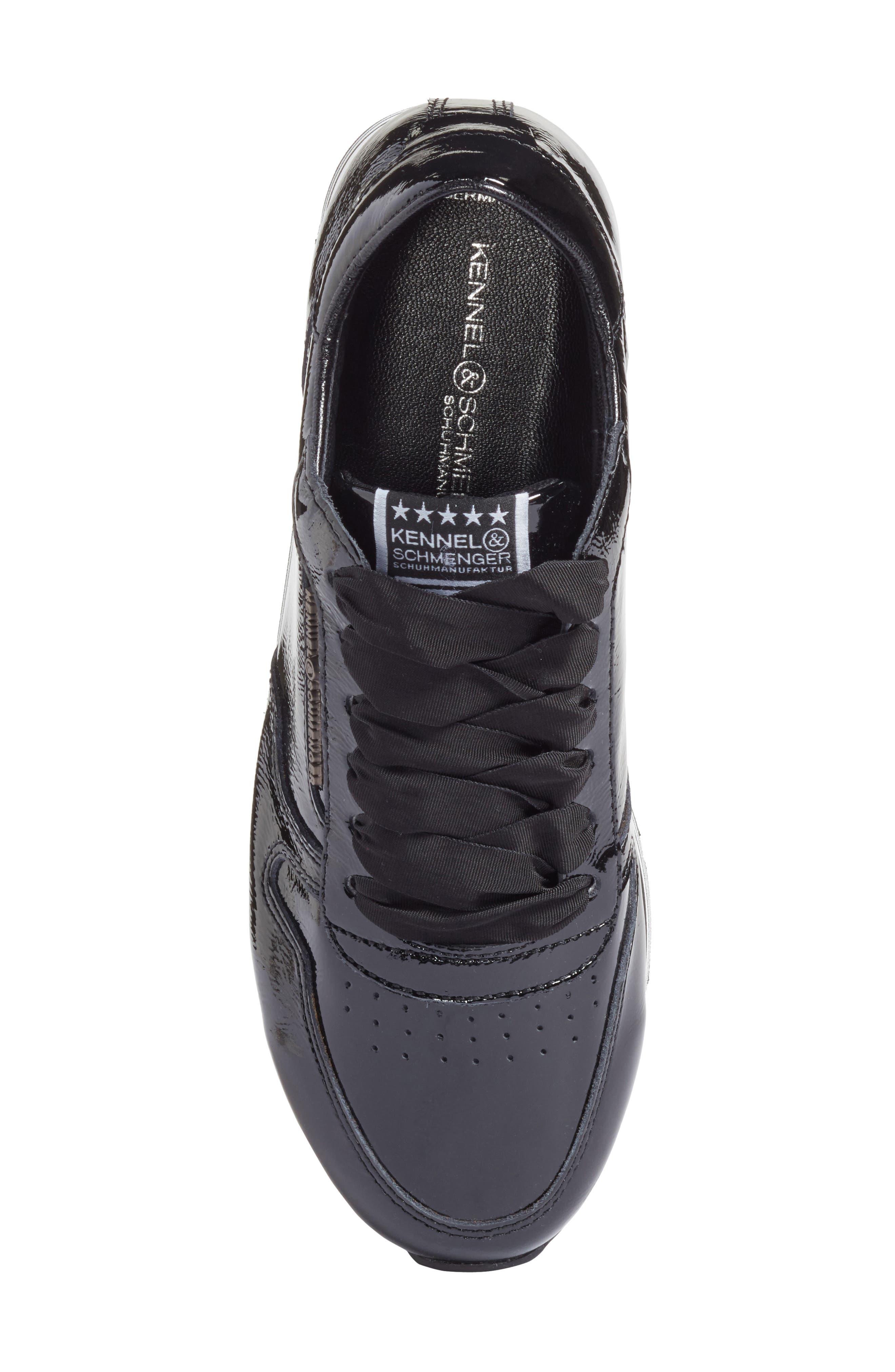Kennel & Schmenger Nova Patent Leather Sneaker,                             Alternate thumbnail 5, color,                             Black