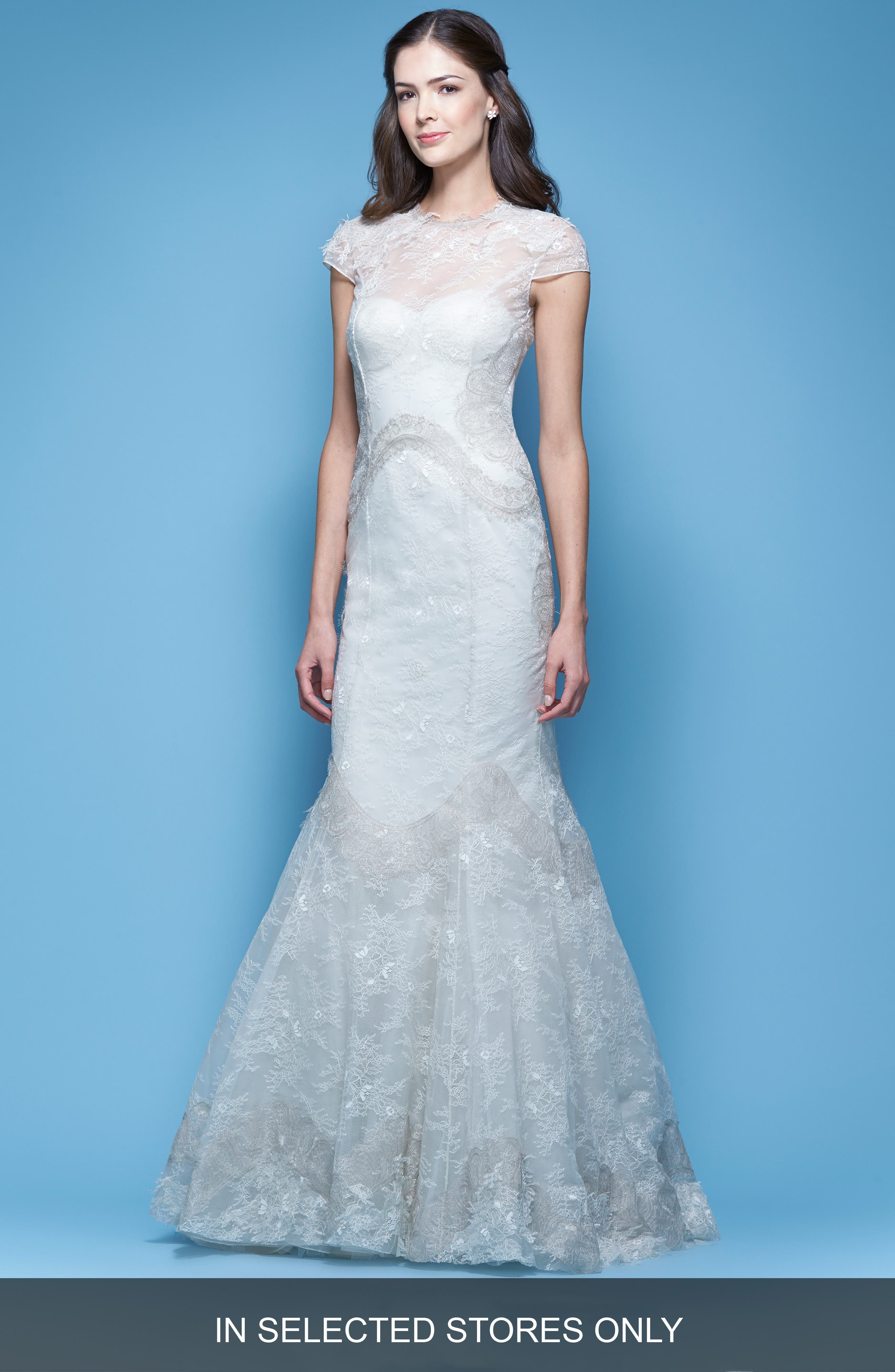 Carolina Herrera 'Jessica' Illusion Cap Sleeve Chantilly Lace Mermaid Gown (In Stores Only)