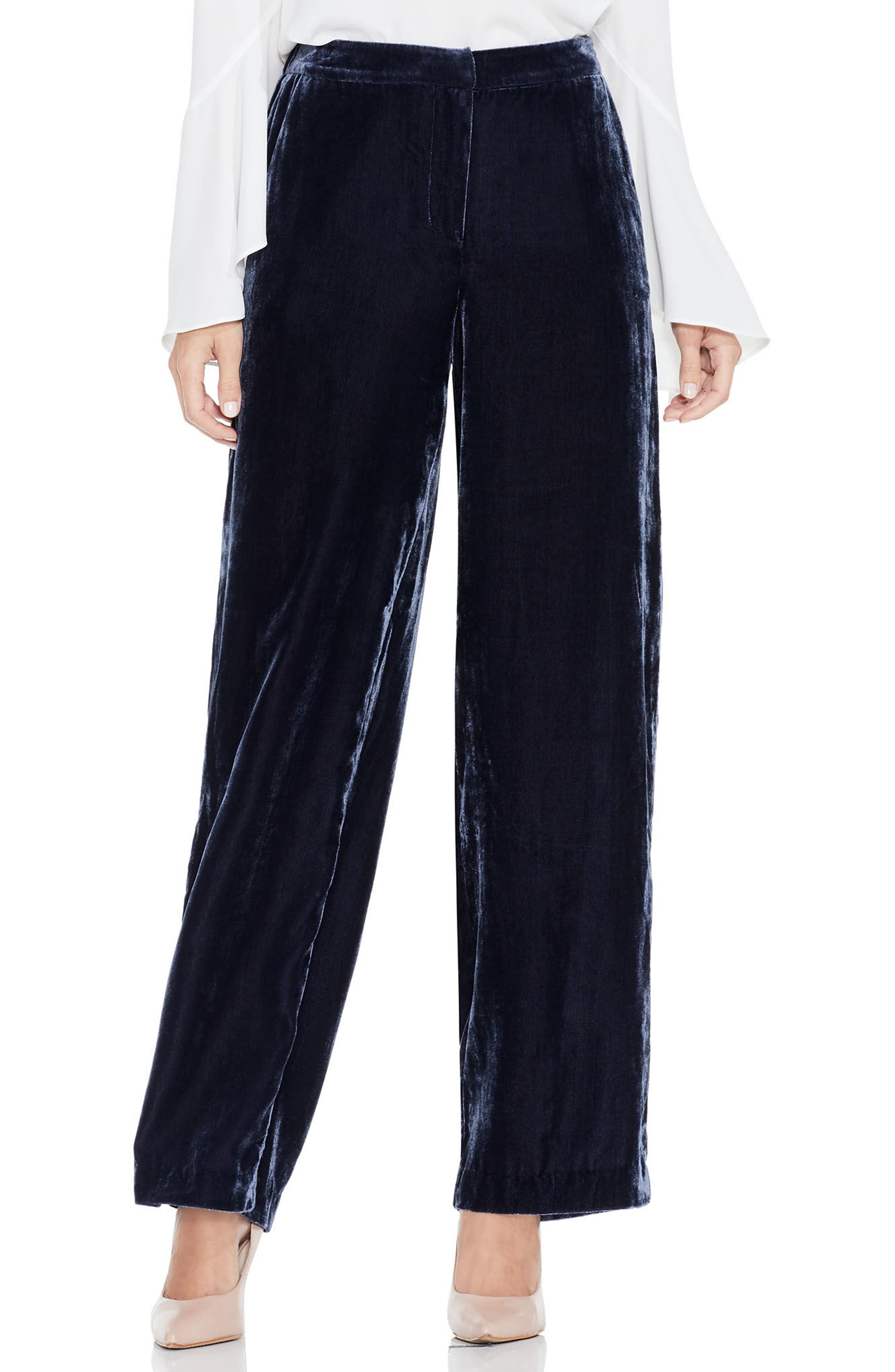 Drapey Velvet Wide Leg Pants,                         Main,                         color, Crew Navy