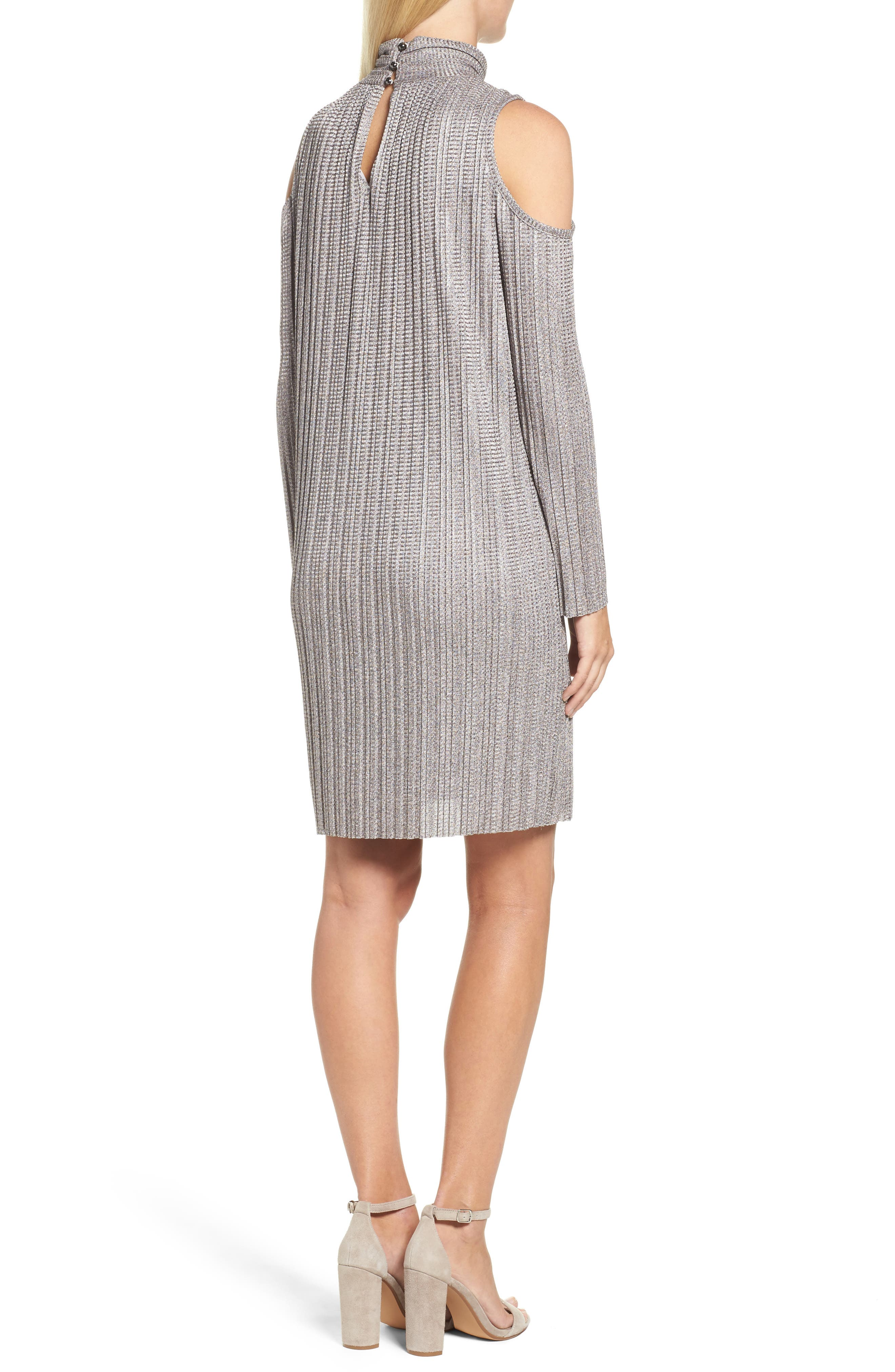 Alternate Image 2  - Maggy London Cold Shoulder Pleated Shift Dress