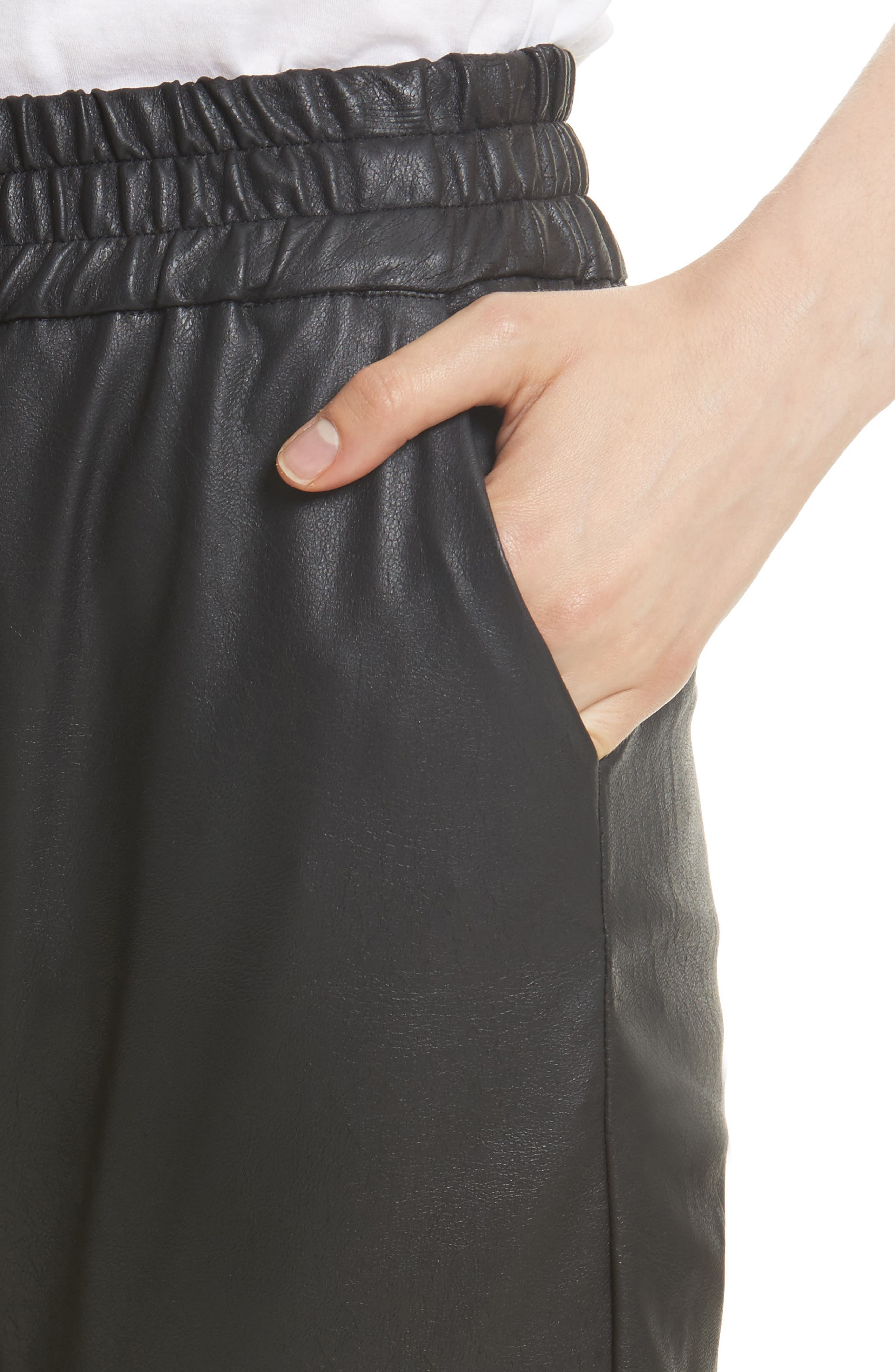 Alternate Image 4  - Rebecca Taylor Faux Leather Track Pants